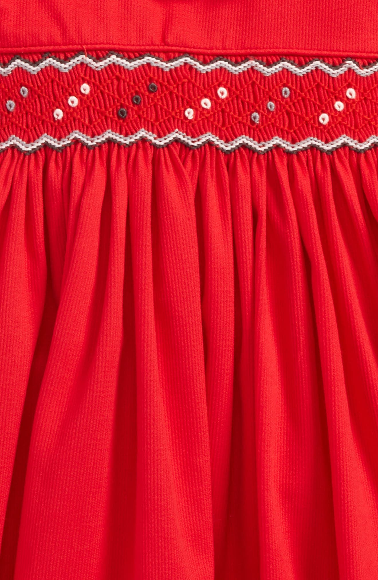 Smocked Dress,                             Alternate thumbnail 2, color,                             Red