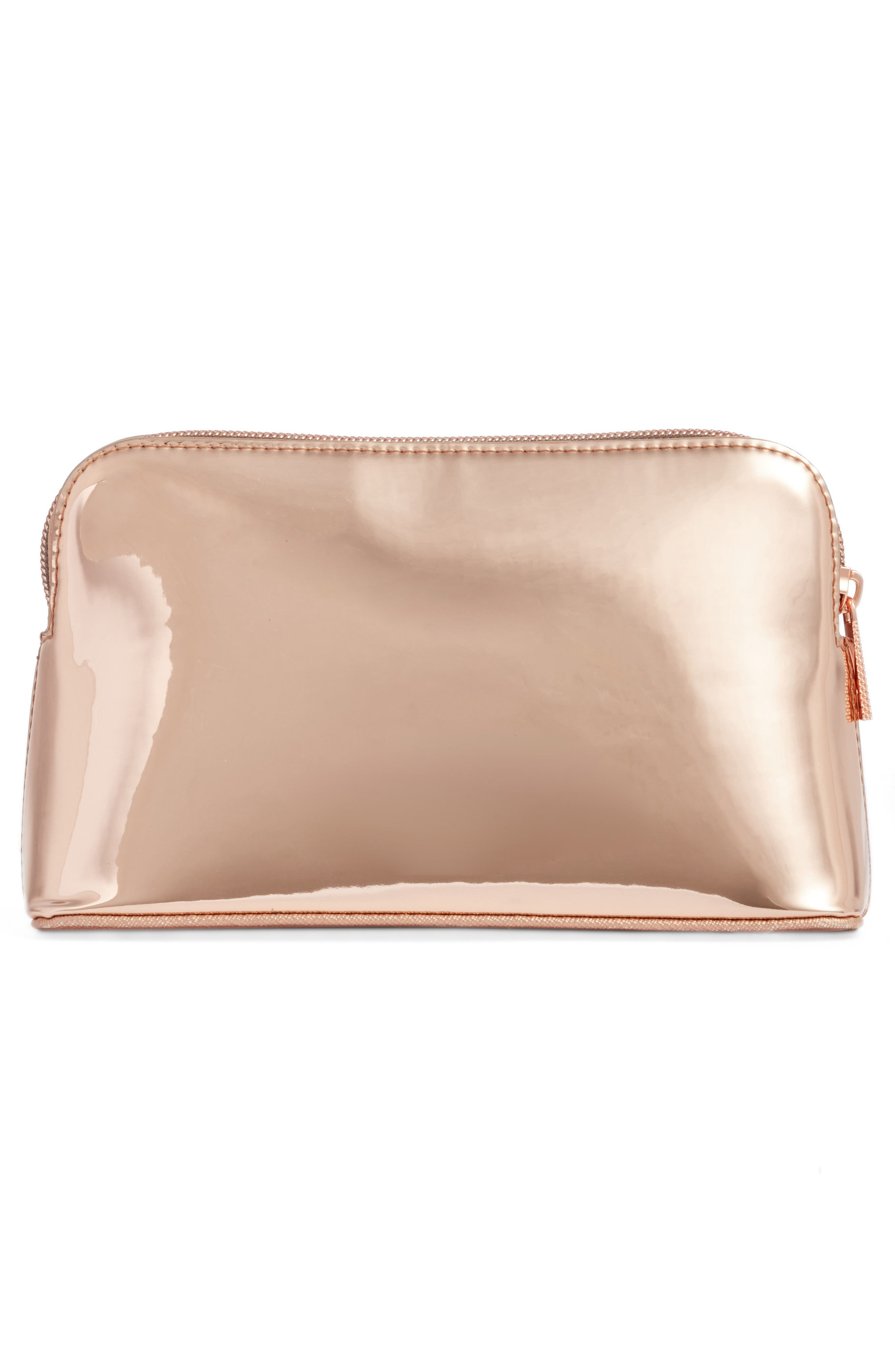Lindsay Metallic Cosmetics Case,                             Alternate thumbnail 2, color,                             Rose Gold