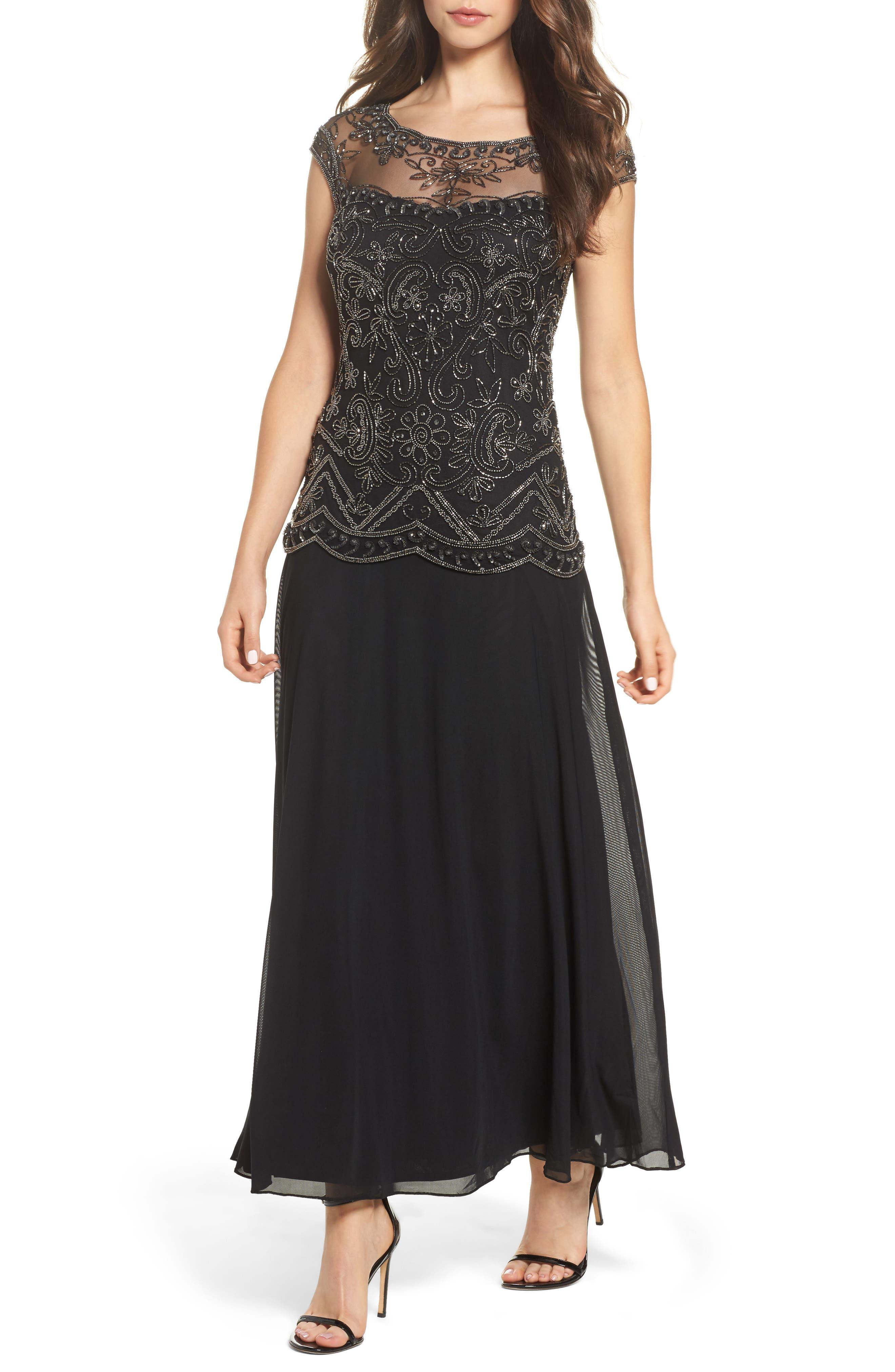 Embellished Cap Sleeve Long Dress,                             Main thumbnail 1, color,                             Black