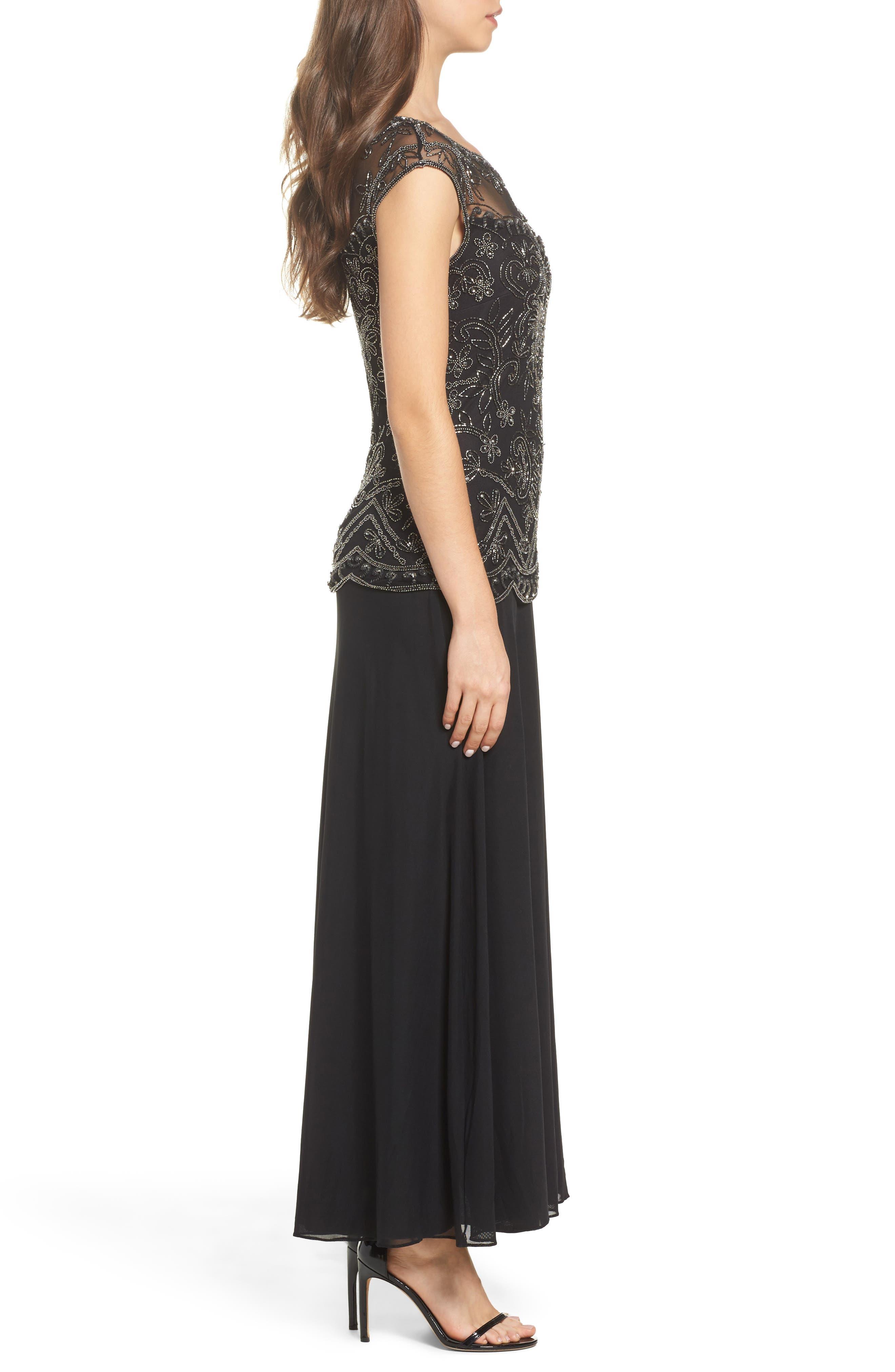 Embellished Cap Sleeve Long Dress,                             Alternate thumbnail 3, color,                             Black