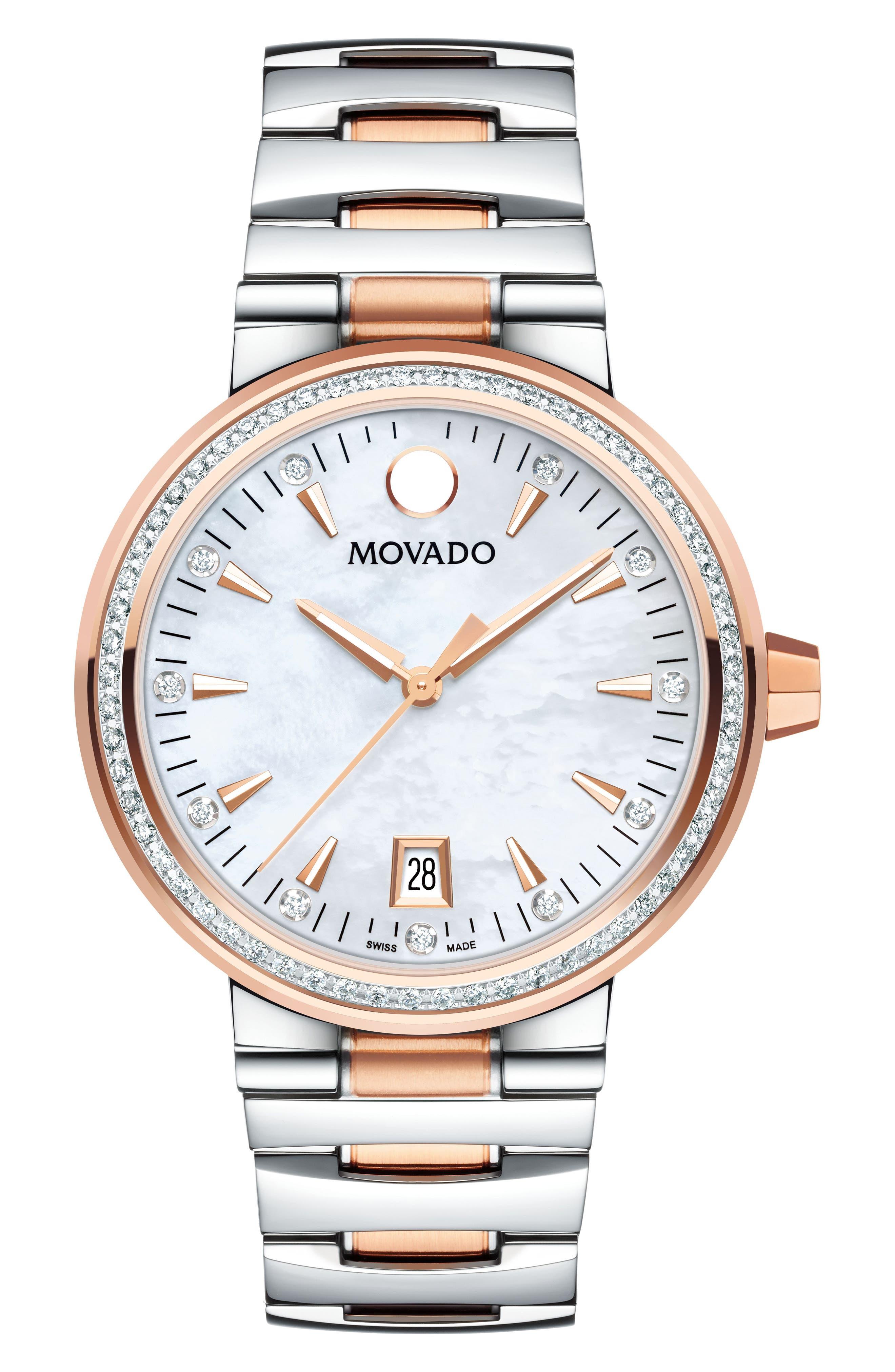 Movado Vizio Pavé Diamond Bracelet Watch, 34mm