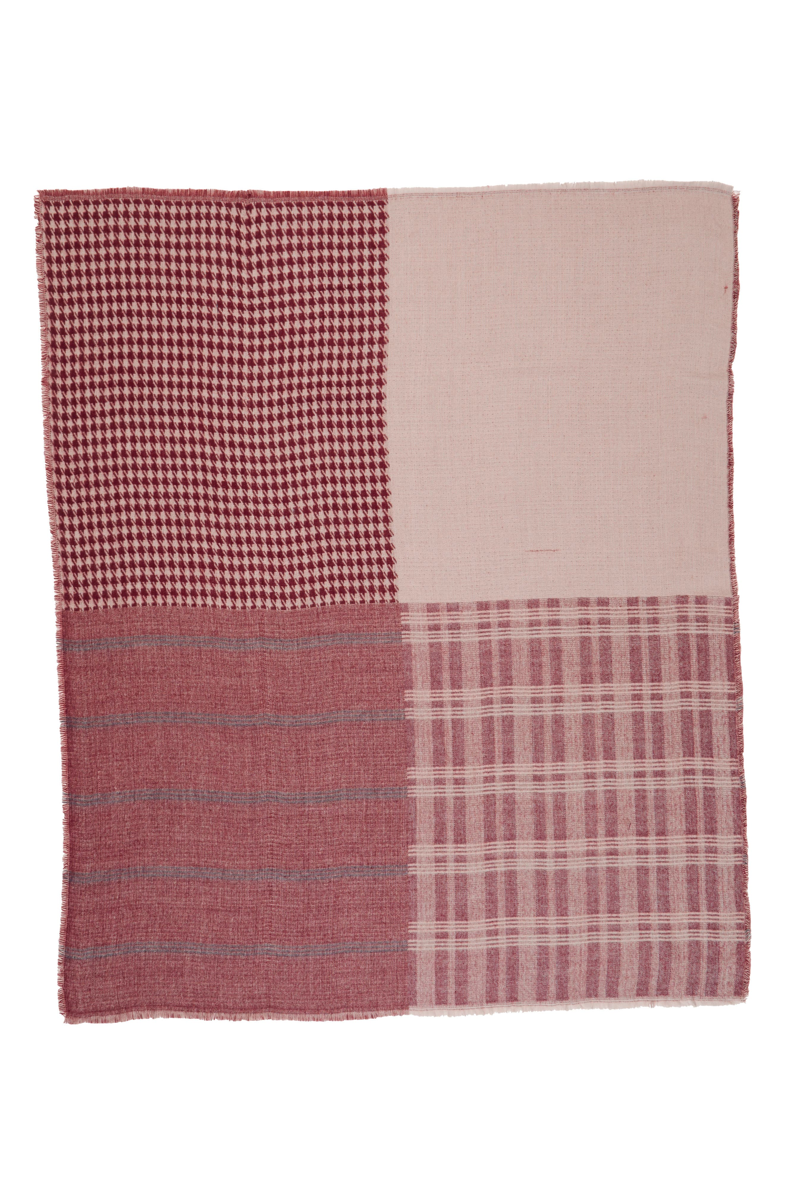 Mixed Pattern Square Scarf,                             Alternate thumbnail 2, color,                             Burgundy Multi