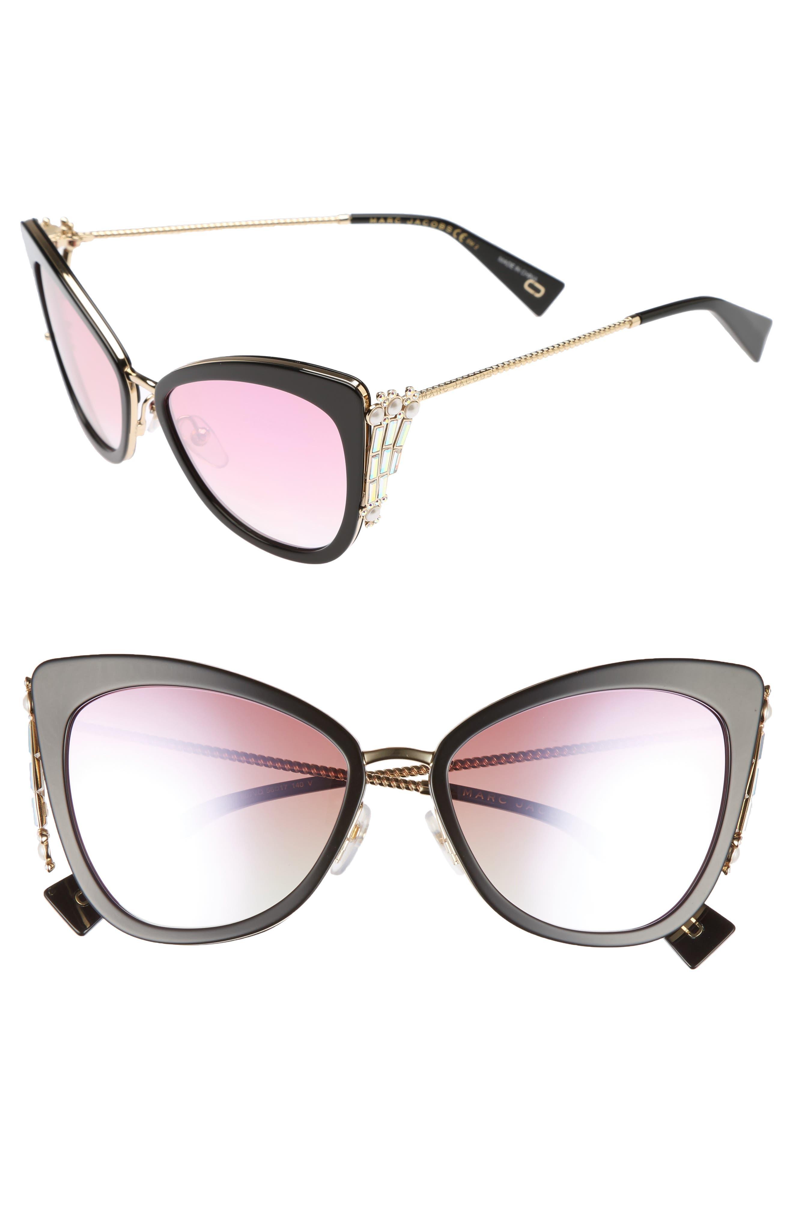 Embellished 56mm Cat Eye Sunglasses,                             Main thumbnail 1, color,                             Blue