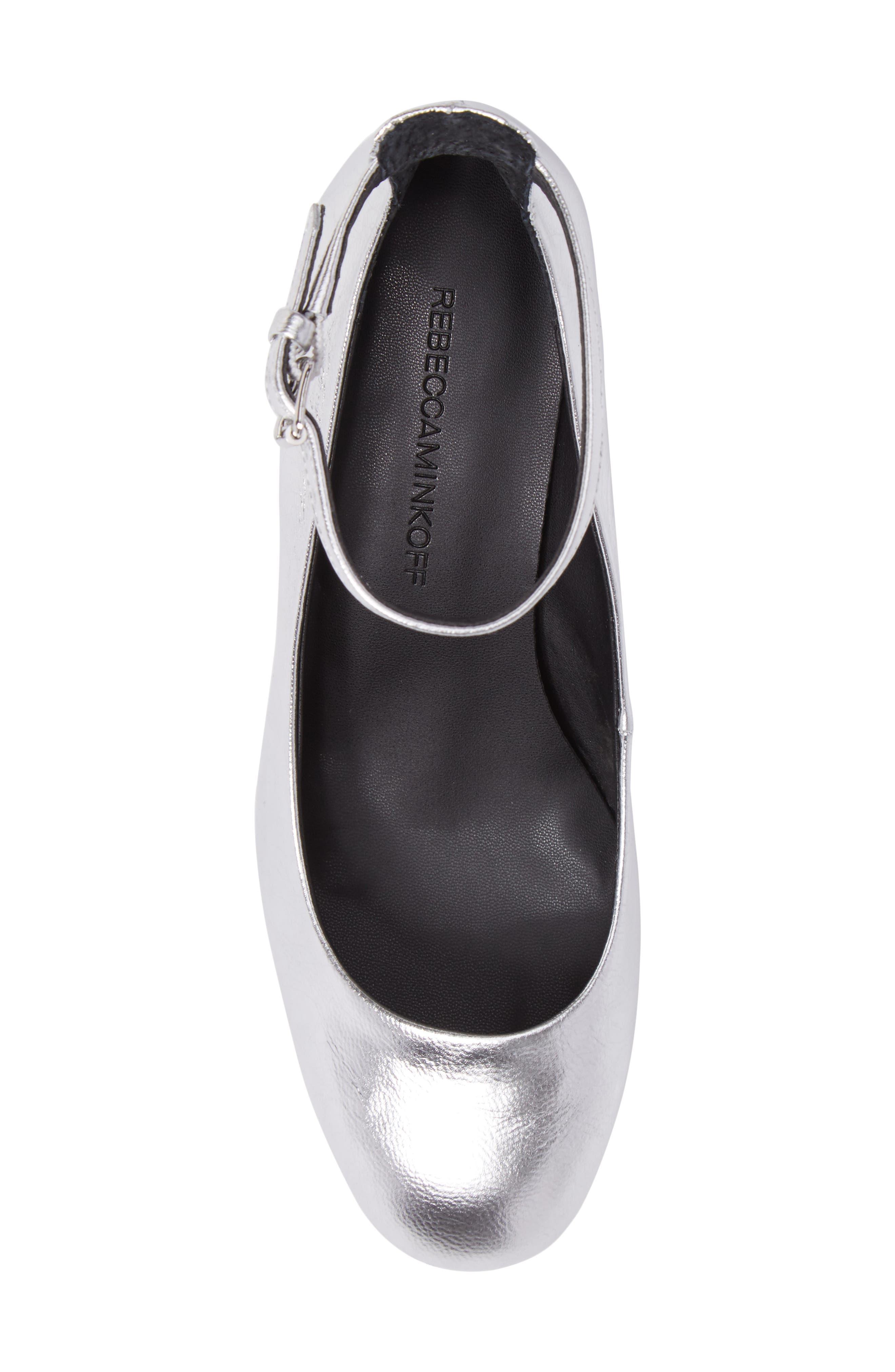 Bridget Ankle Strap Pump,                             Alternate thumbnail 5, color,                             Silver Leather