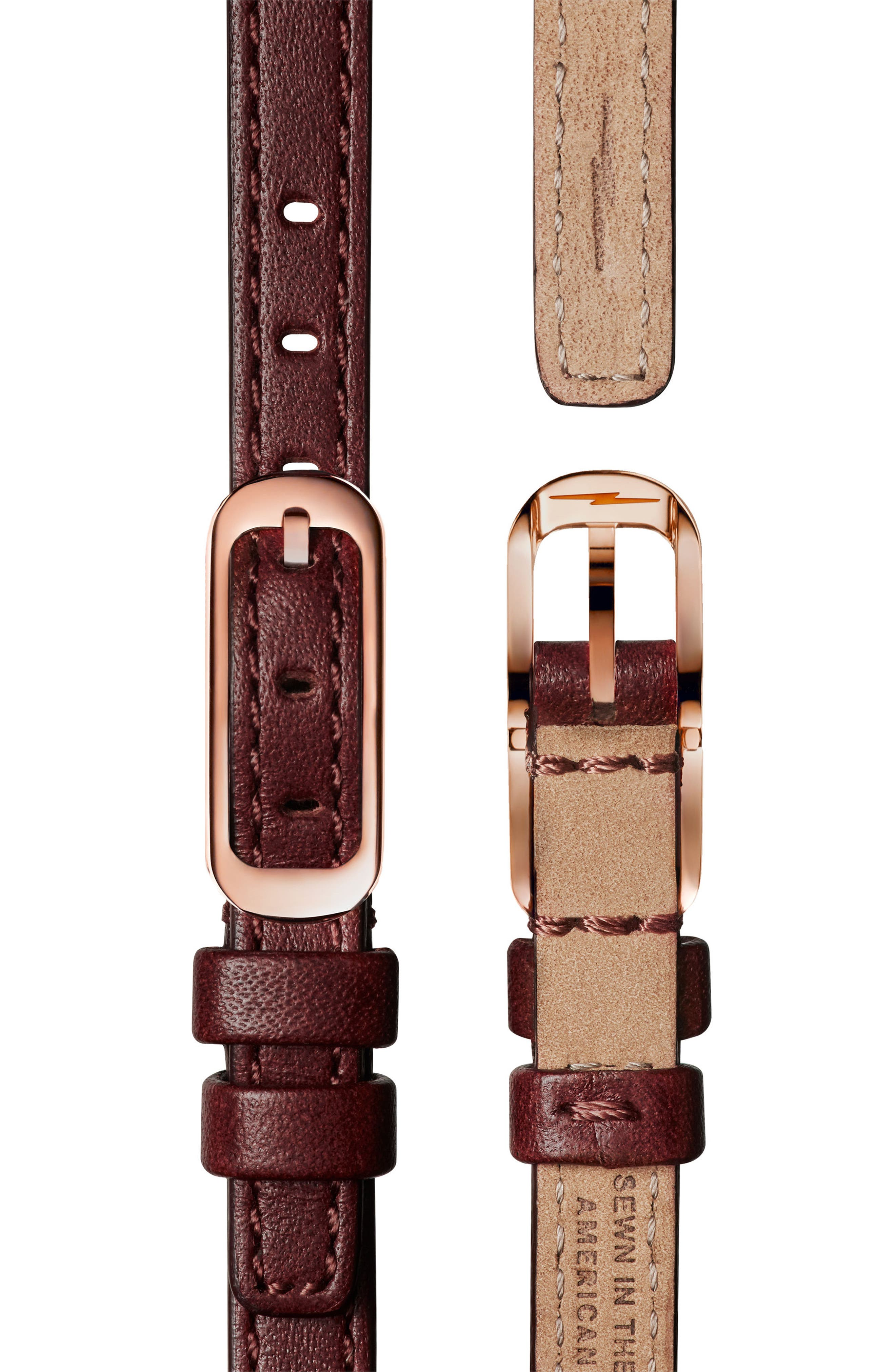 The Birdy Leather Strap Watch, 34mm,                             Alternate thumbnail 2, color,                             Burgundy/ Gold