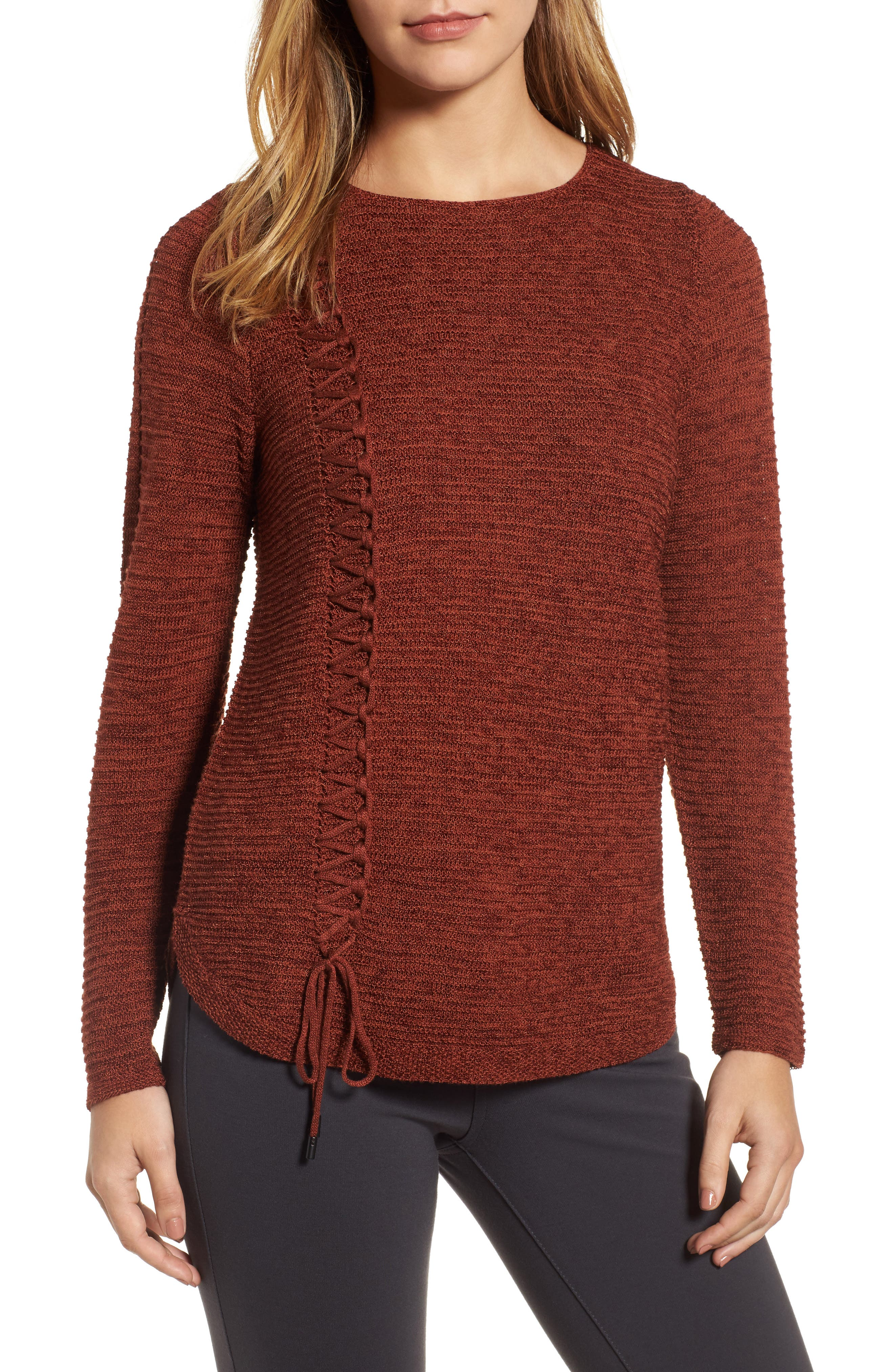 Braided Up Sweater,                         Main,                         color, Brandy