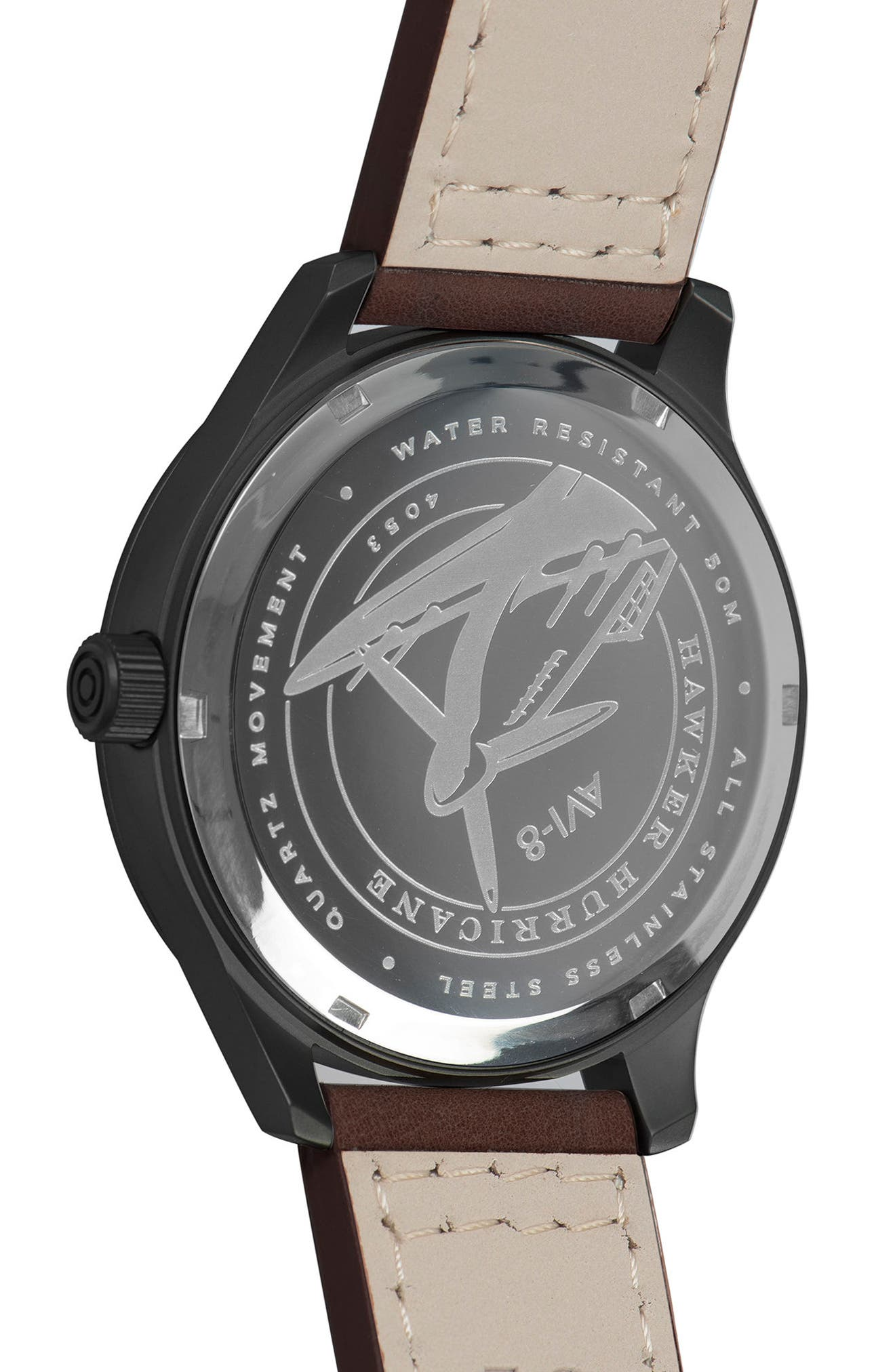 Hawker Hurricane Leather Strap Watch, 43mm,                             Alternate thumbnail 4, color,                             Black/ Dark Brown