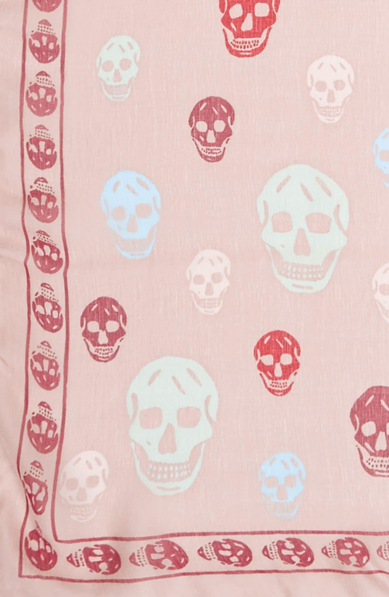 Skull Print Silk Scarf,                             Alternate thumbnail 3, color,                             Old Rose/ Light Purple