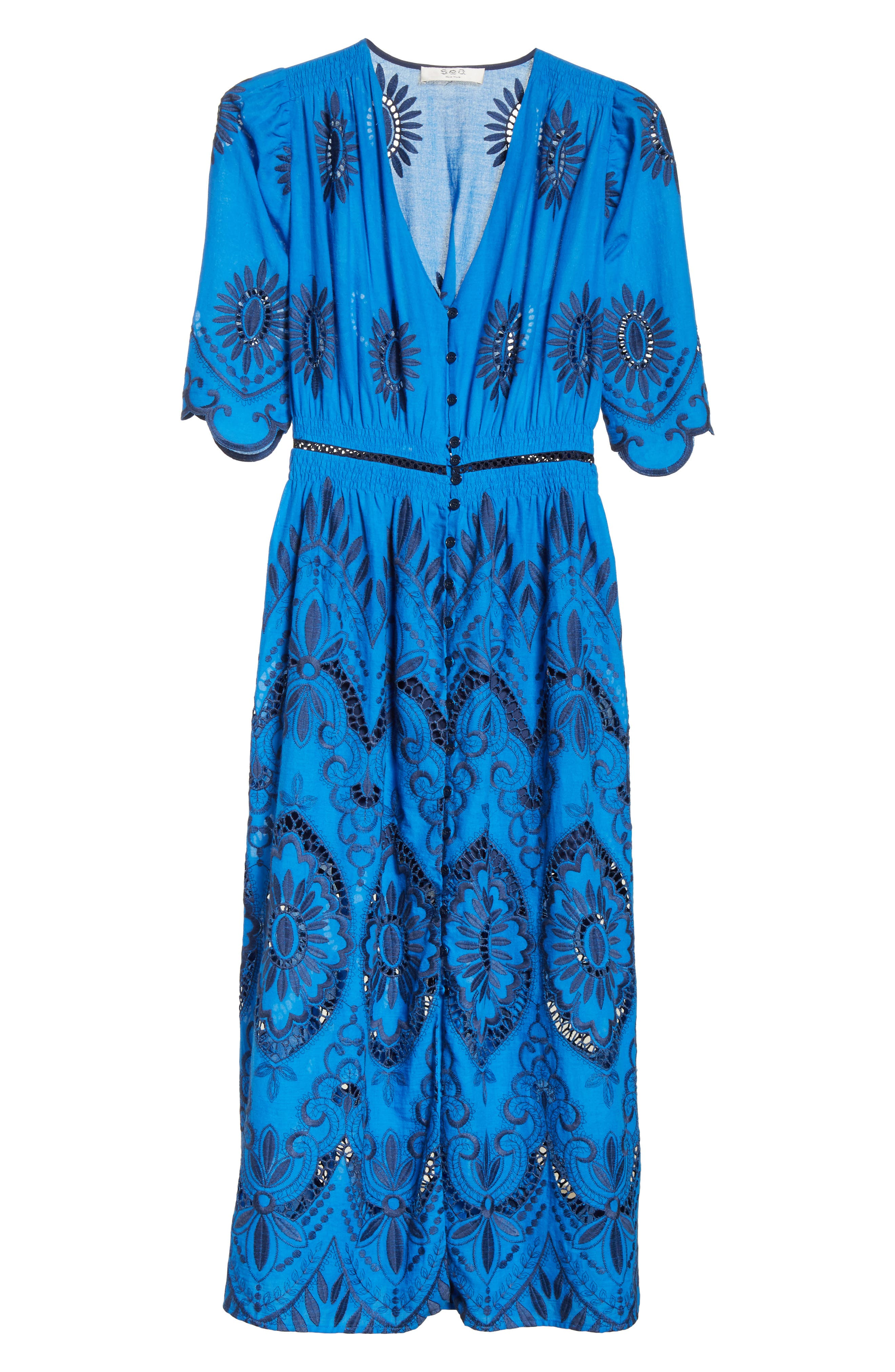 Cotton Eyelet Maxi Dress,                             Alternate thumbnail 6, color,                             Blue/ Navy