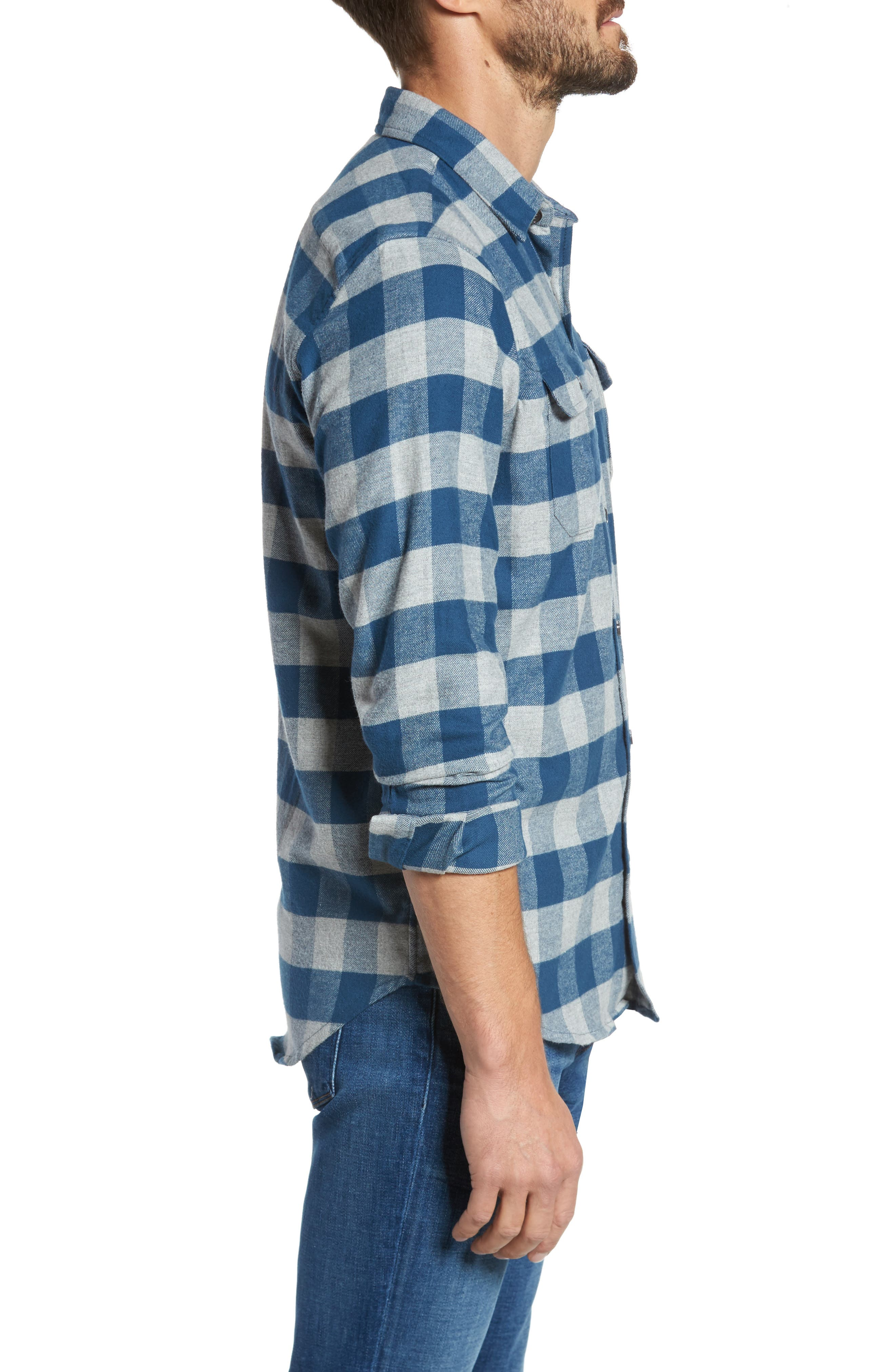 Buffalo Check Flannel Shirt,                             Alternate thumbnail 3, color,                             Teal/ Med Grey Heather
