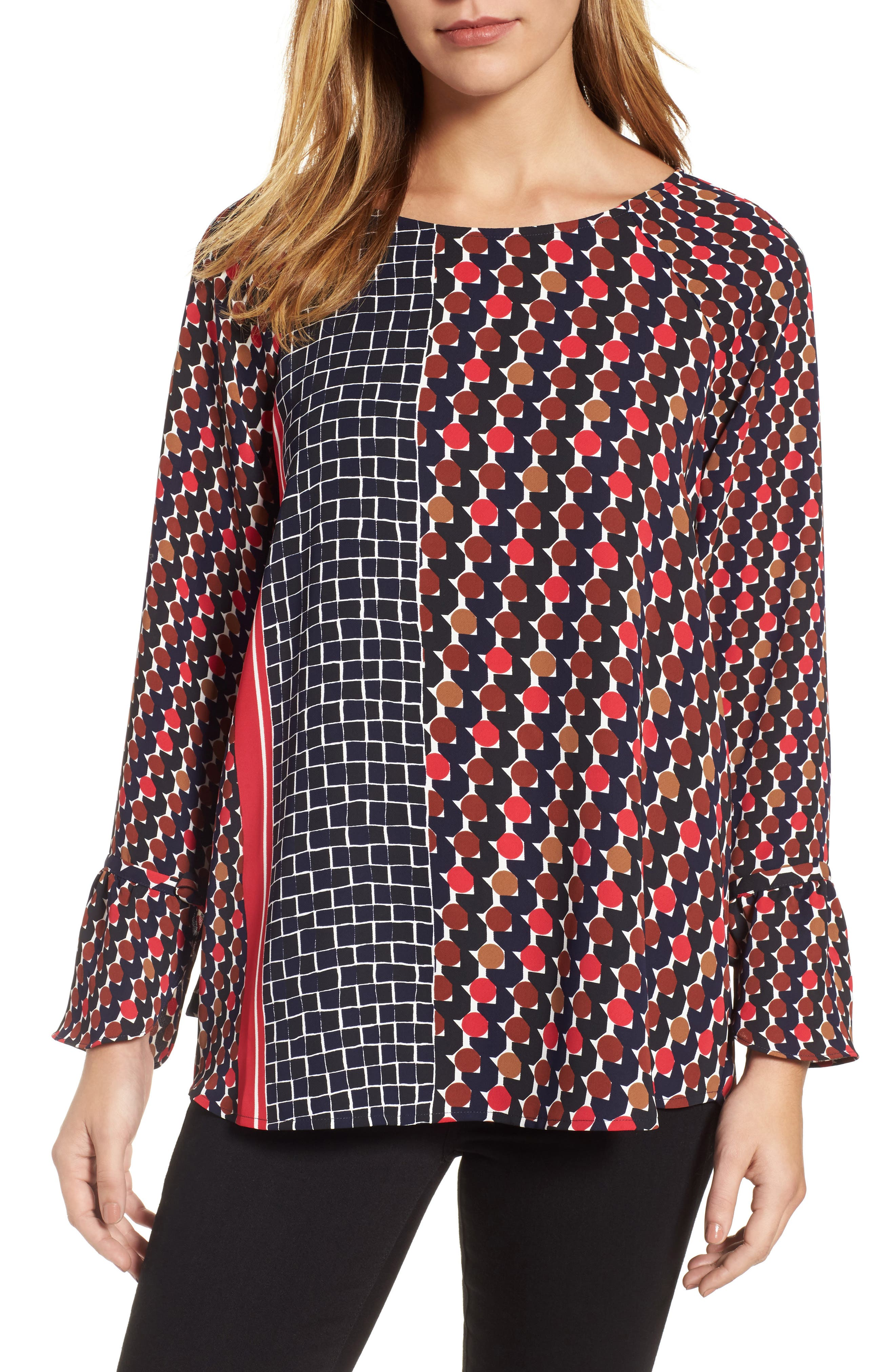 Mix Dots Bell Sleeve Top,                             Main thumbnail 1, color,                             Red Multi