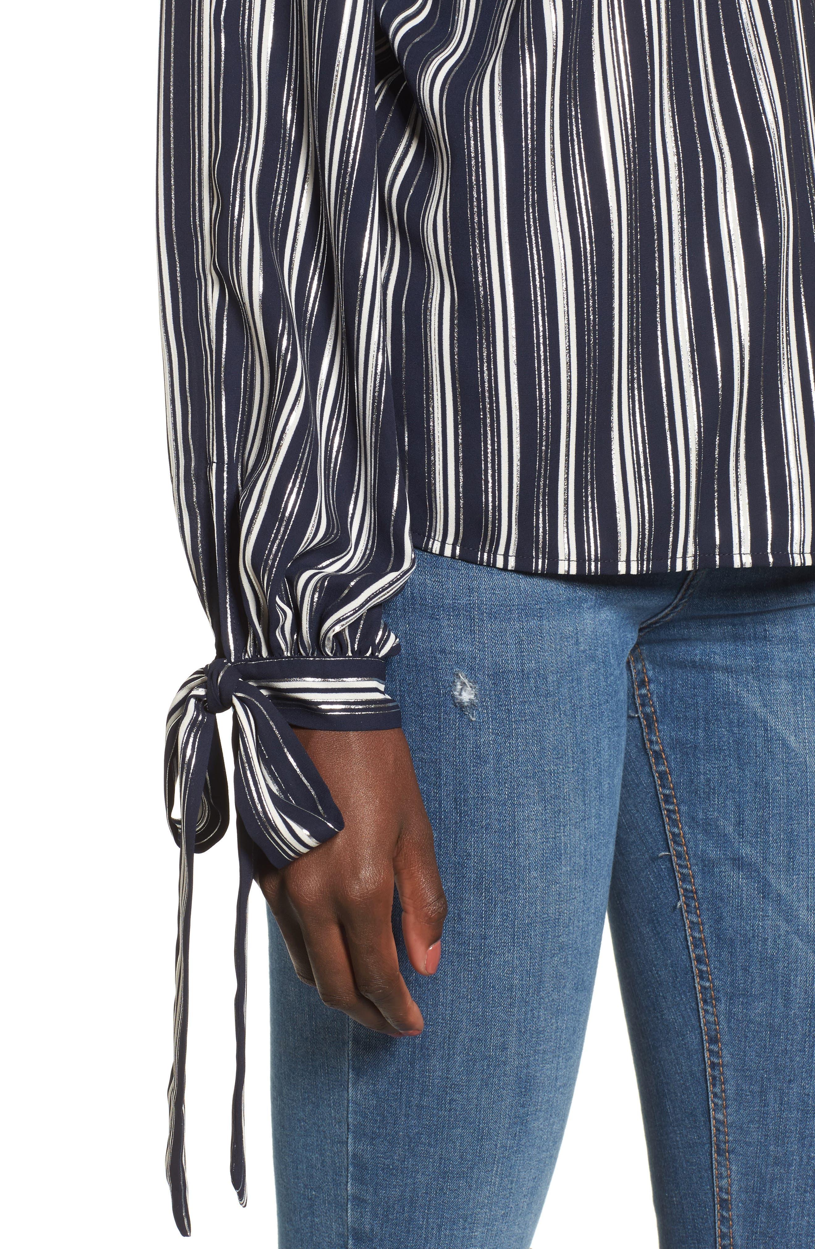 Metallic Stripe Cold Shoulder Top,                             Alternate thumbnail 4, color,                             Navy/ Silver Stripe