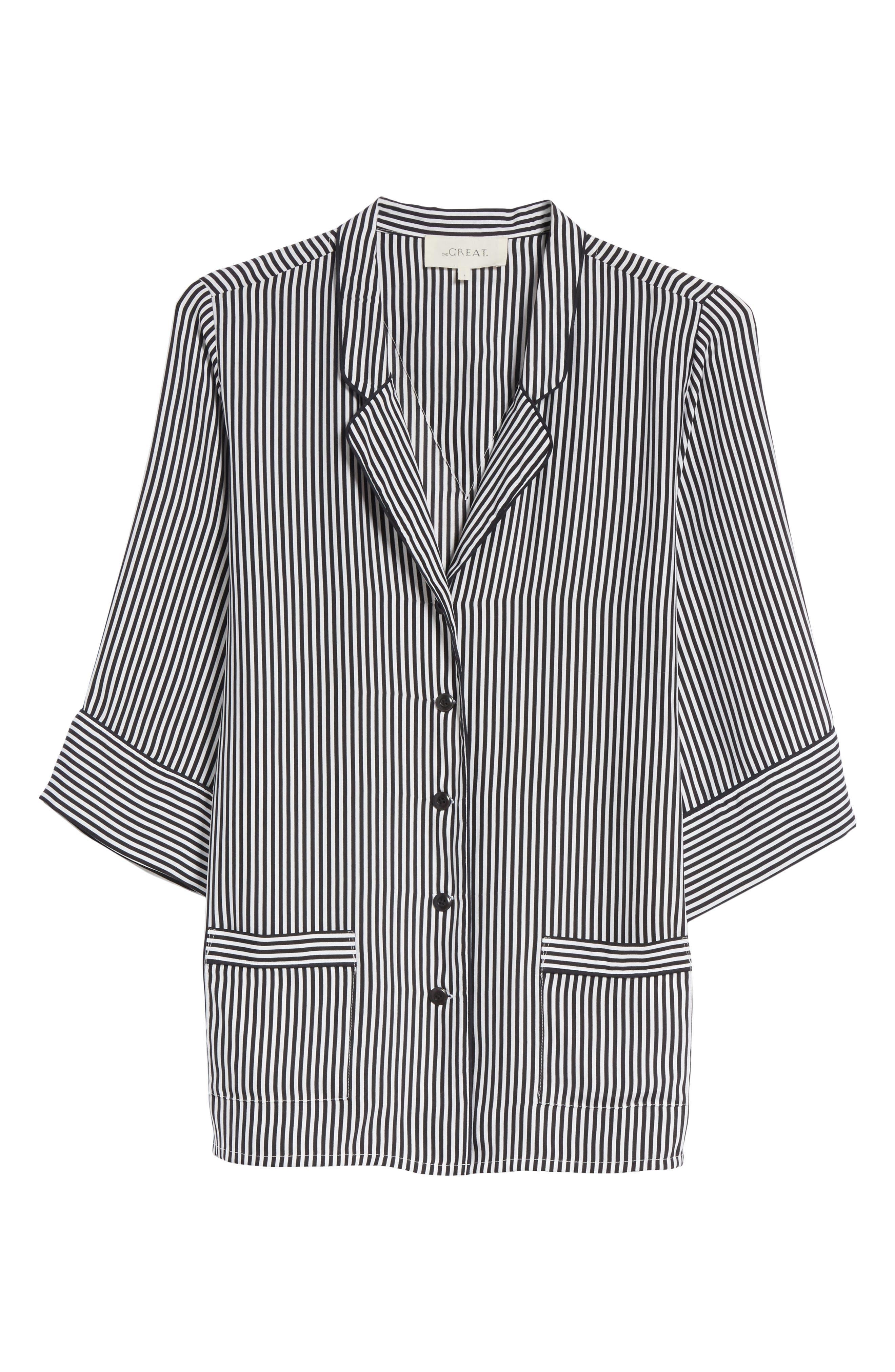 Alternate Image 7  - THE GREAT. Pencil Stripe Silk Sleeper Shirt