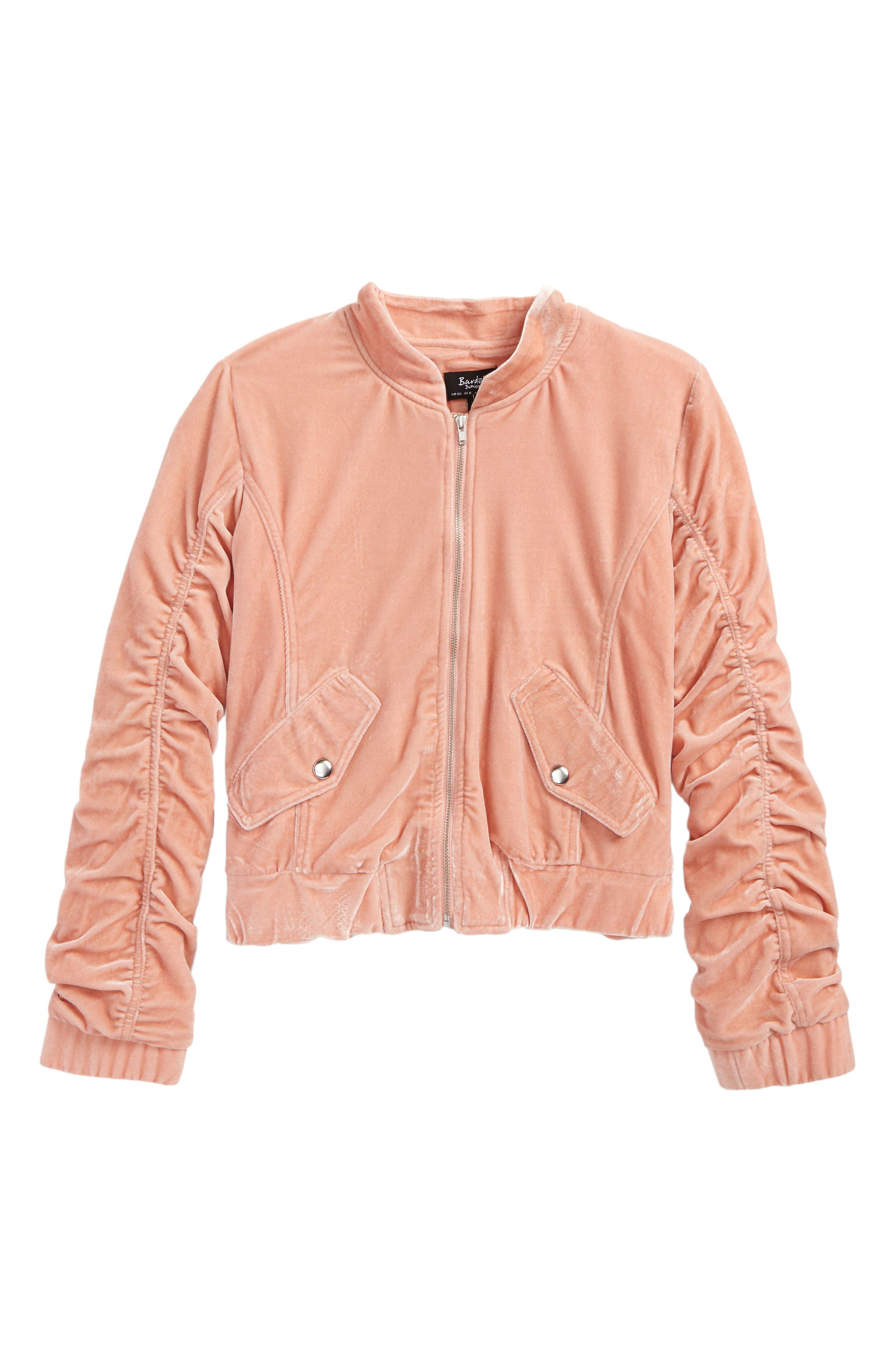 Mackenzie Velvet Bomber Jacket,                             Main thumbnail 1, color,                             Pink