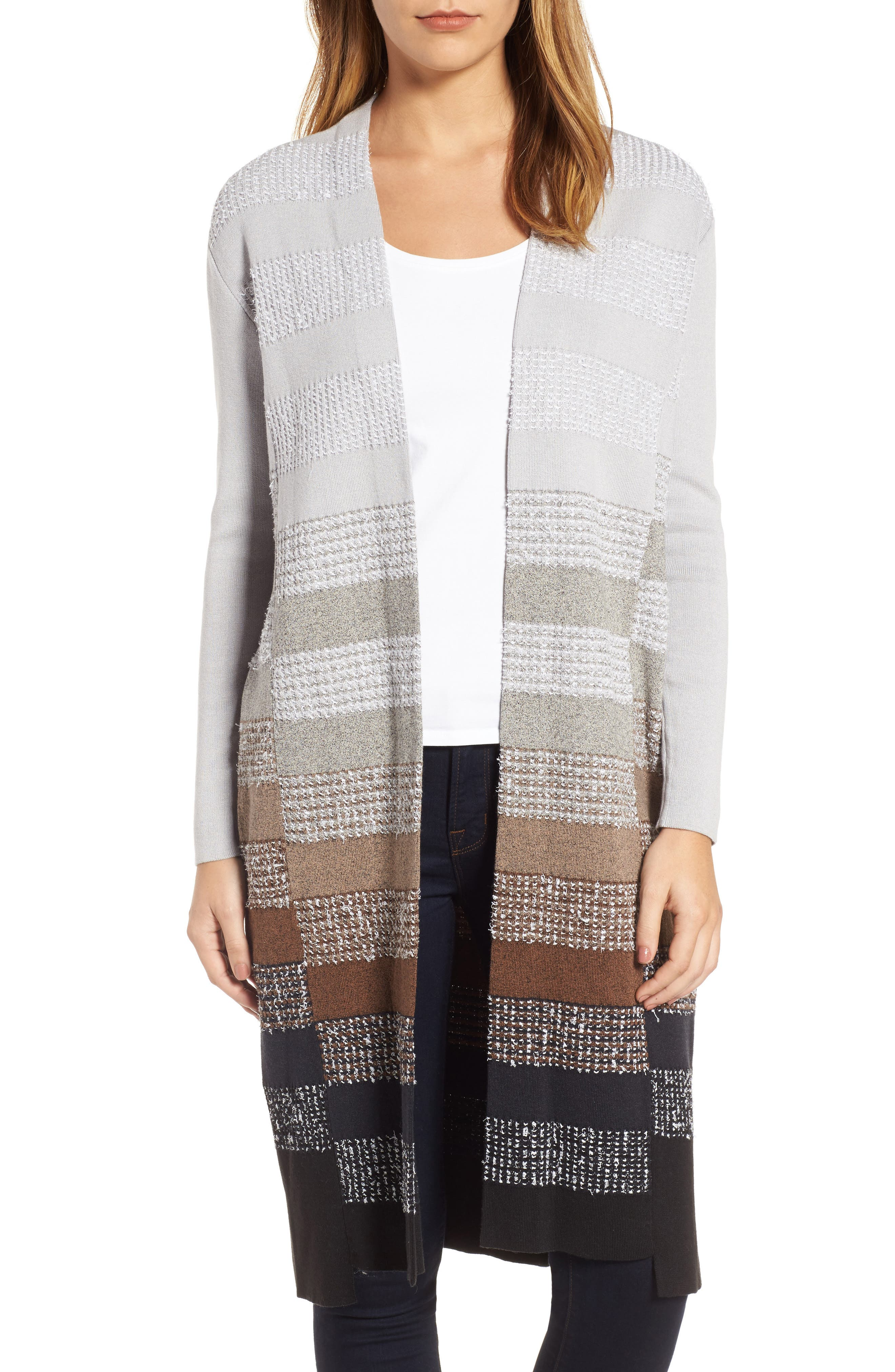 On the Town Long Cardigan,                         Main,                         color, Grey Multi