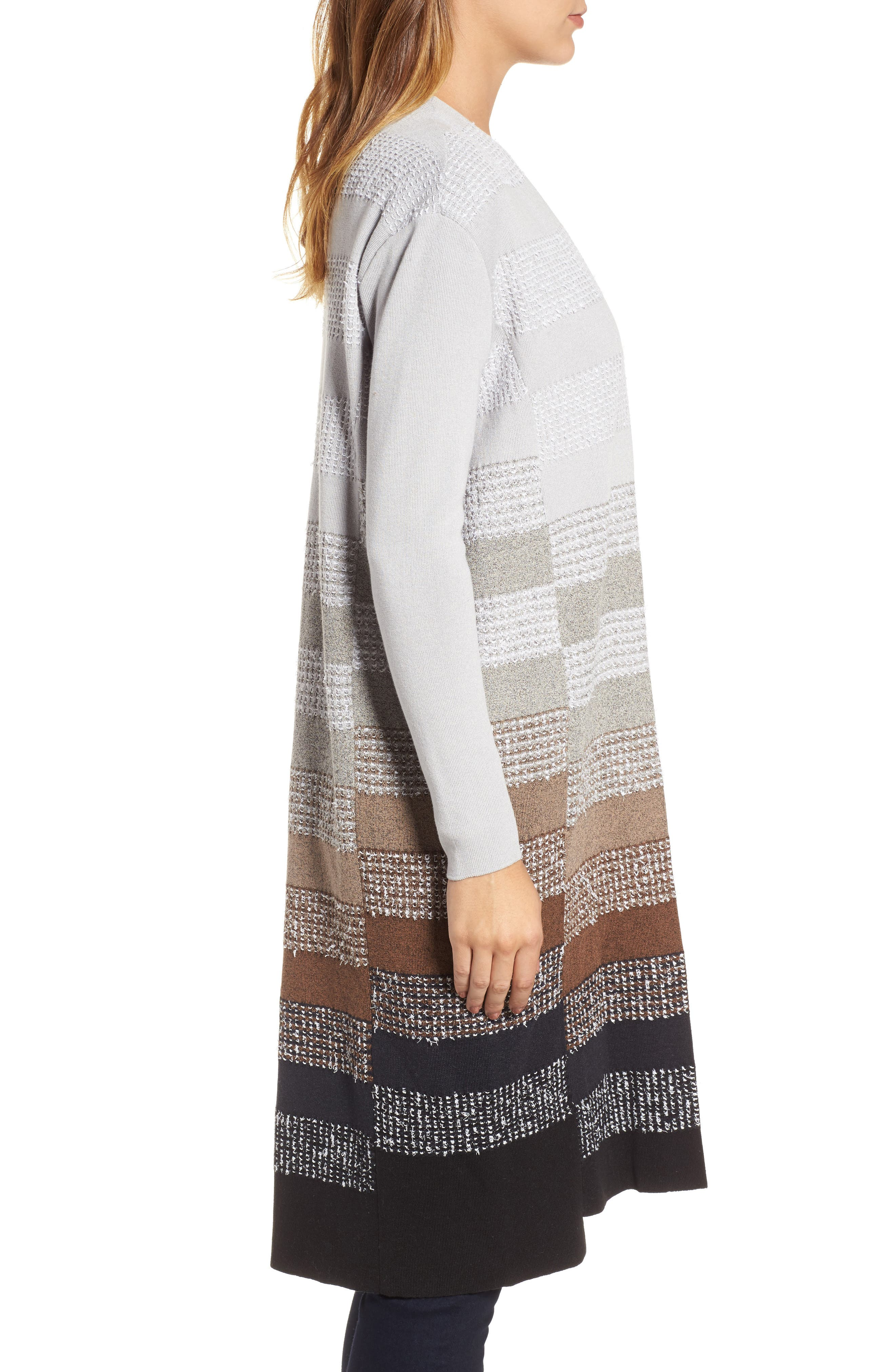 On the Town Long Cardigan,                             Alternate thumbnail 3, color,                             Grey Multi