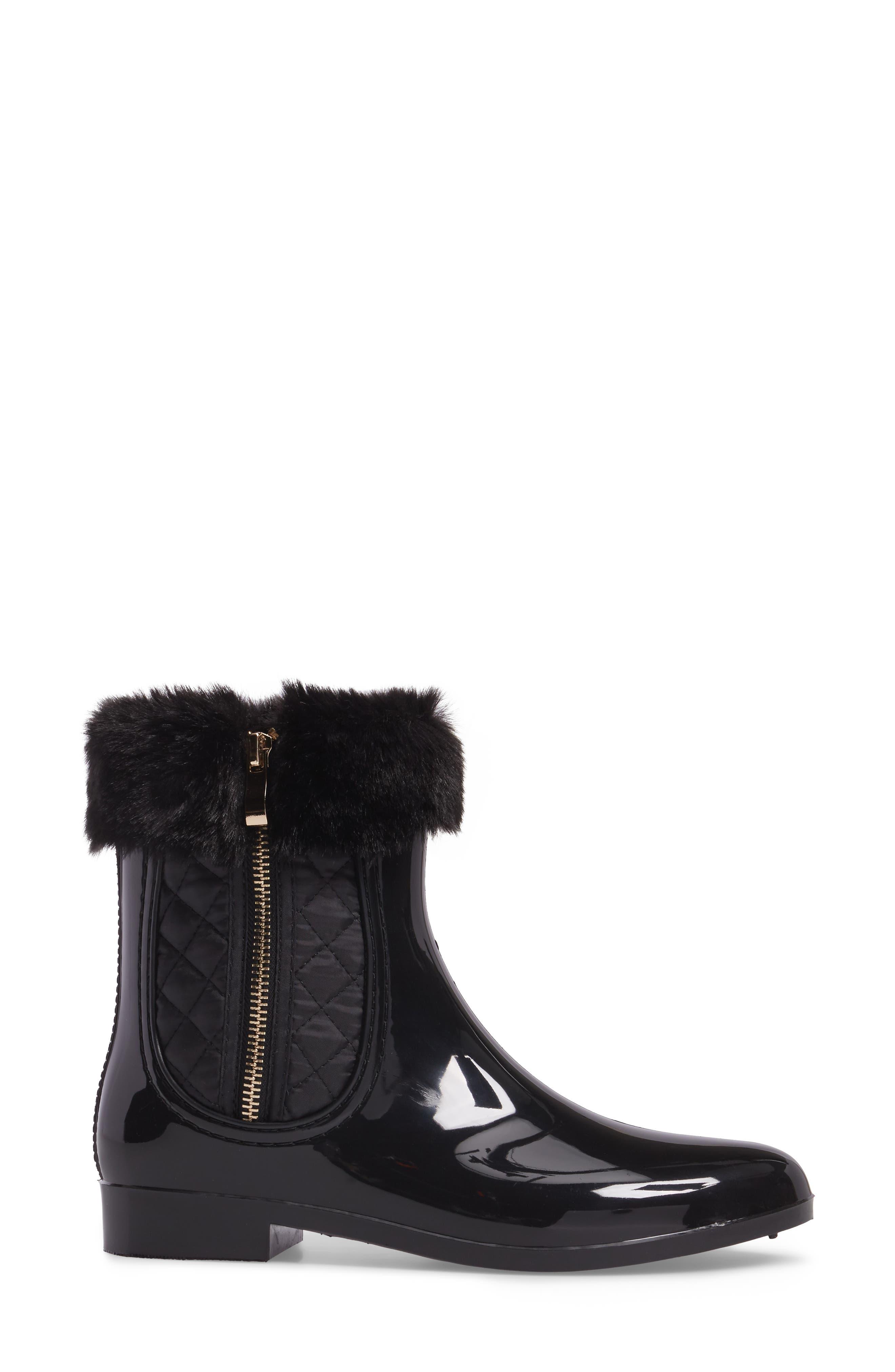 Glasgow Faux Fur Cuff Boot,                             Alternate thumbnail 3, color,                             Black