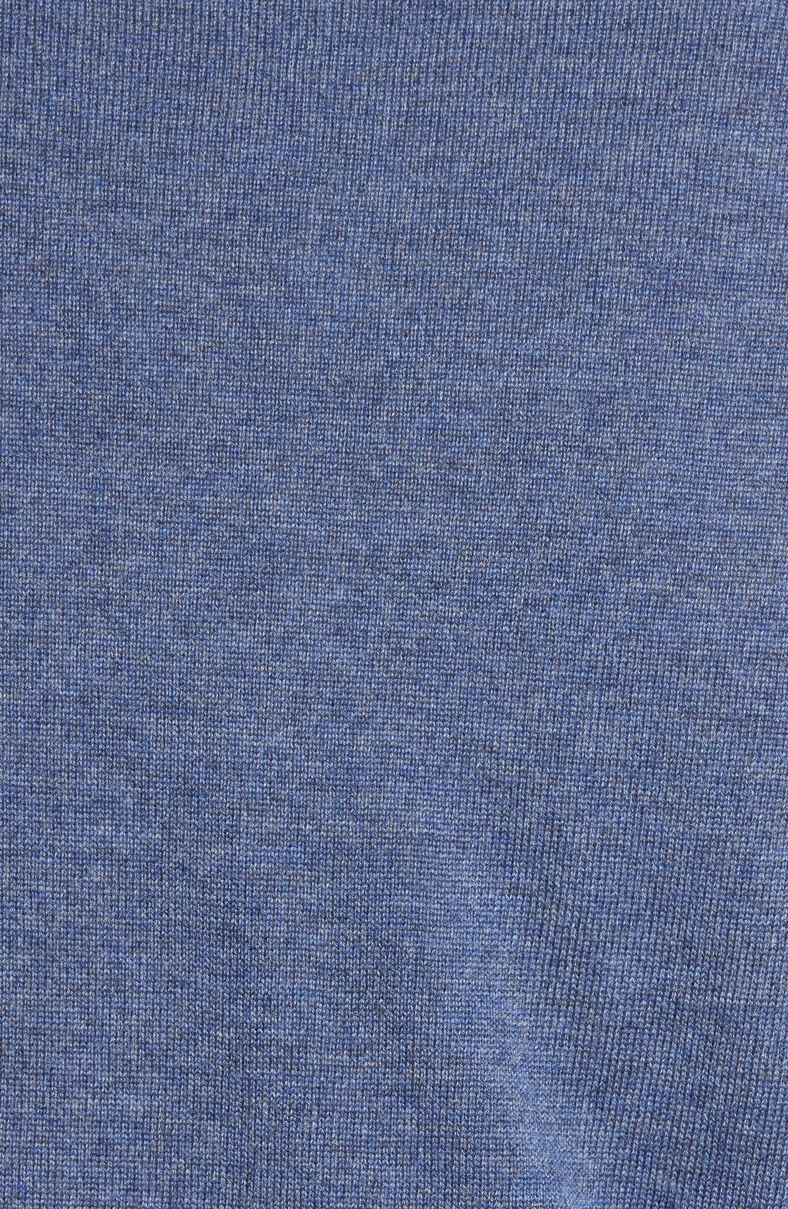 Quarter Zip Merino Wool Pullover,                             Alternate thumbnail 5, color,                             Navy Crown