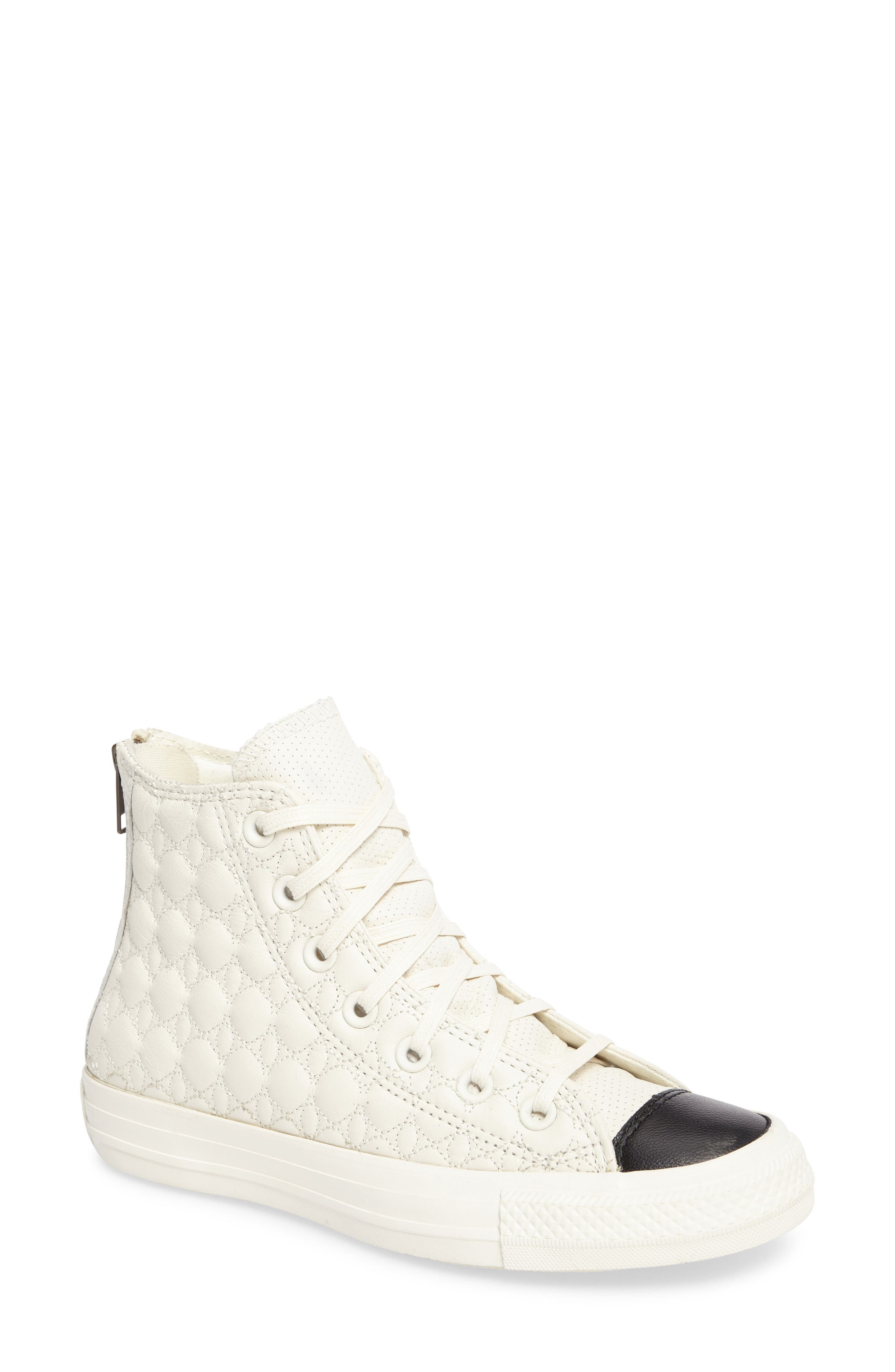 All Star<sup>®</sup> Quilted High Top Sneaker,                         Main,                         color, Egret Leather
