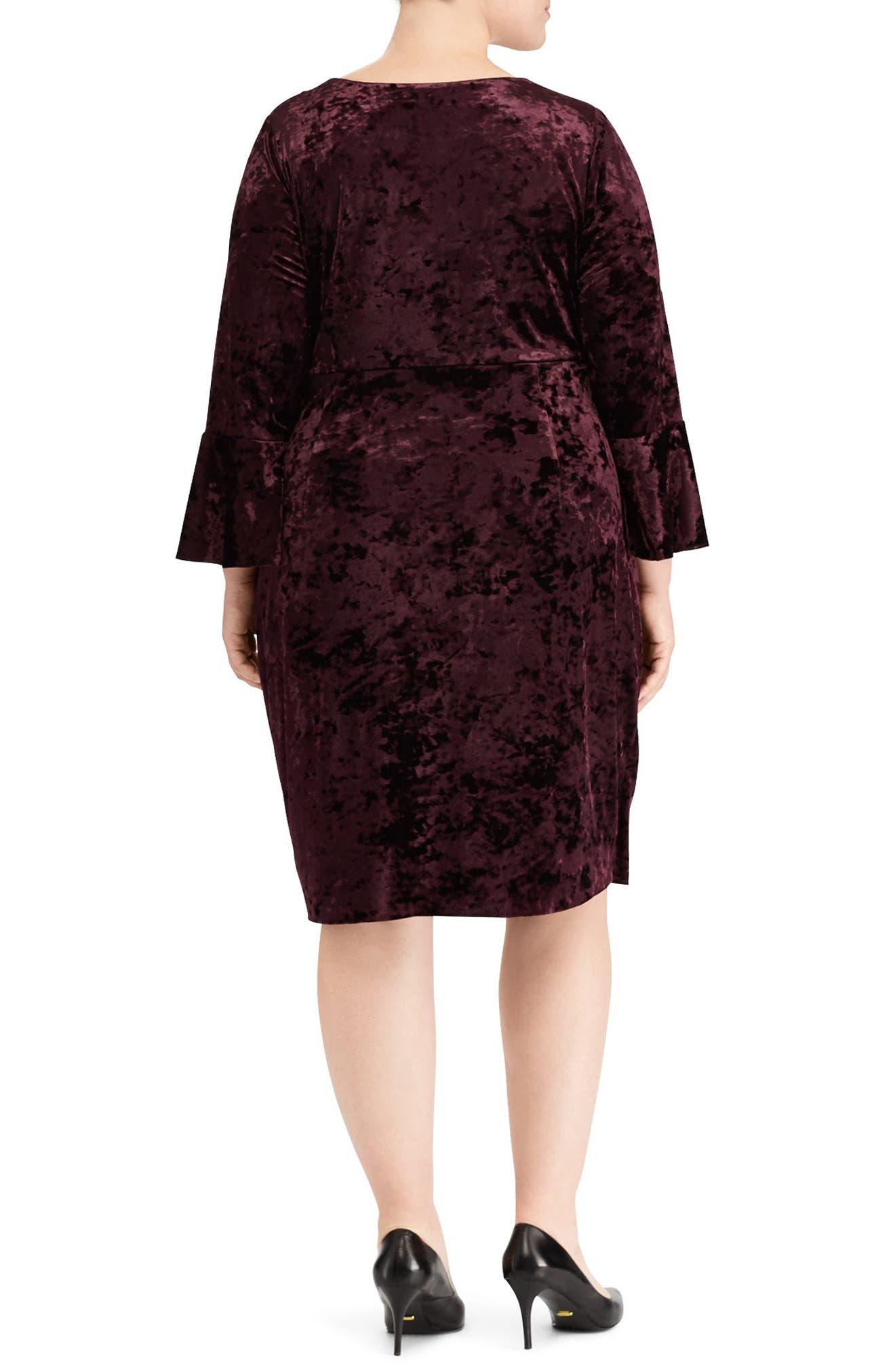 Ruched Crushed Velvet Sheath Dress,                             Alternate thumbnail 2, color,                             Maroon