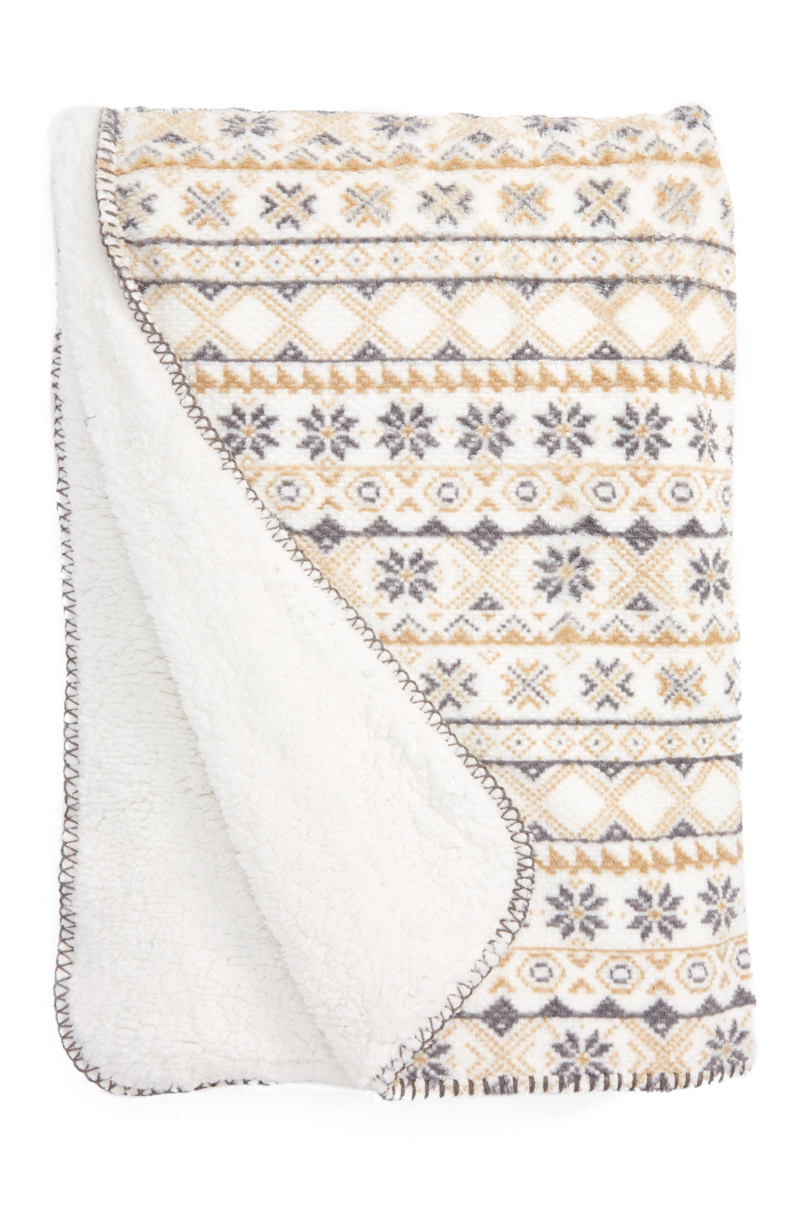 Fair Isle Print Faux Shearling Blanket,                         Main,                         color, Ivory