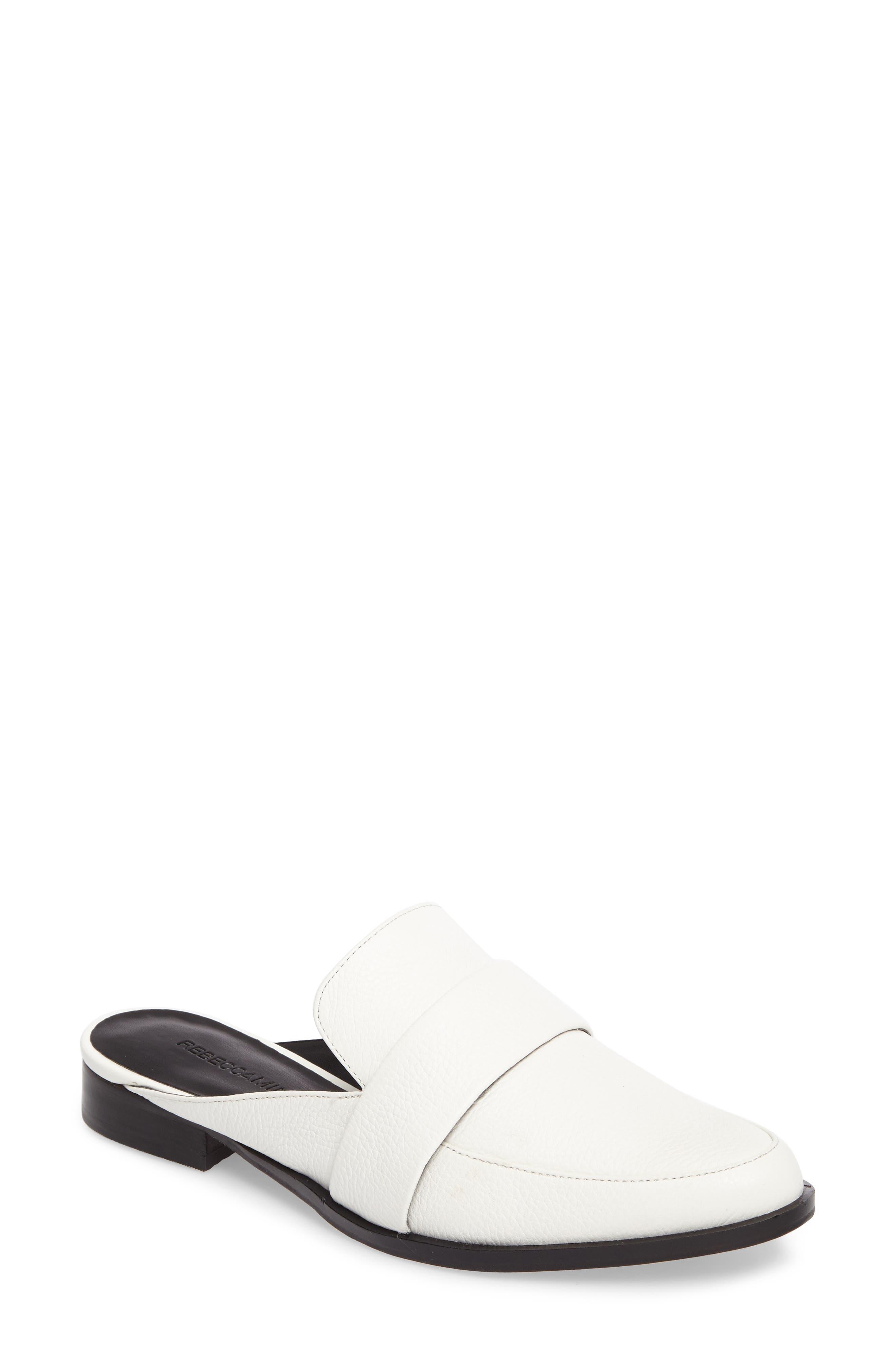 'Mika' Mule,                         Main,                         color, White Leather