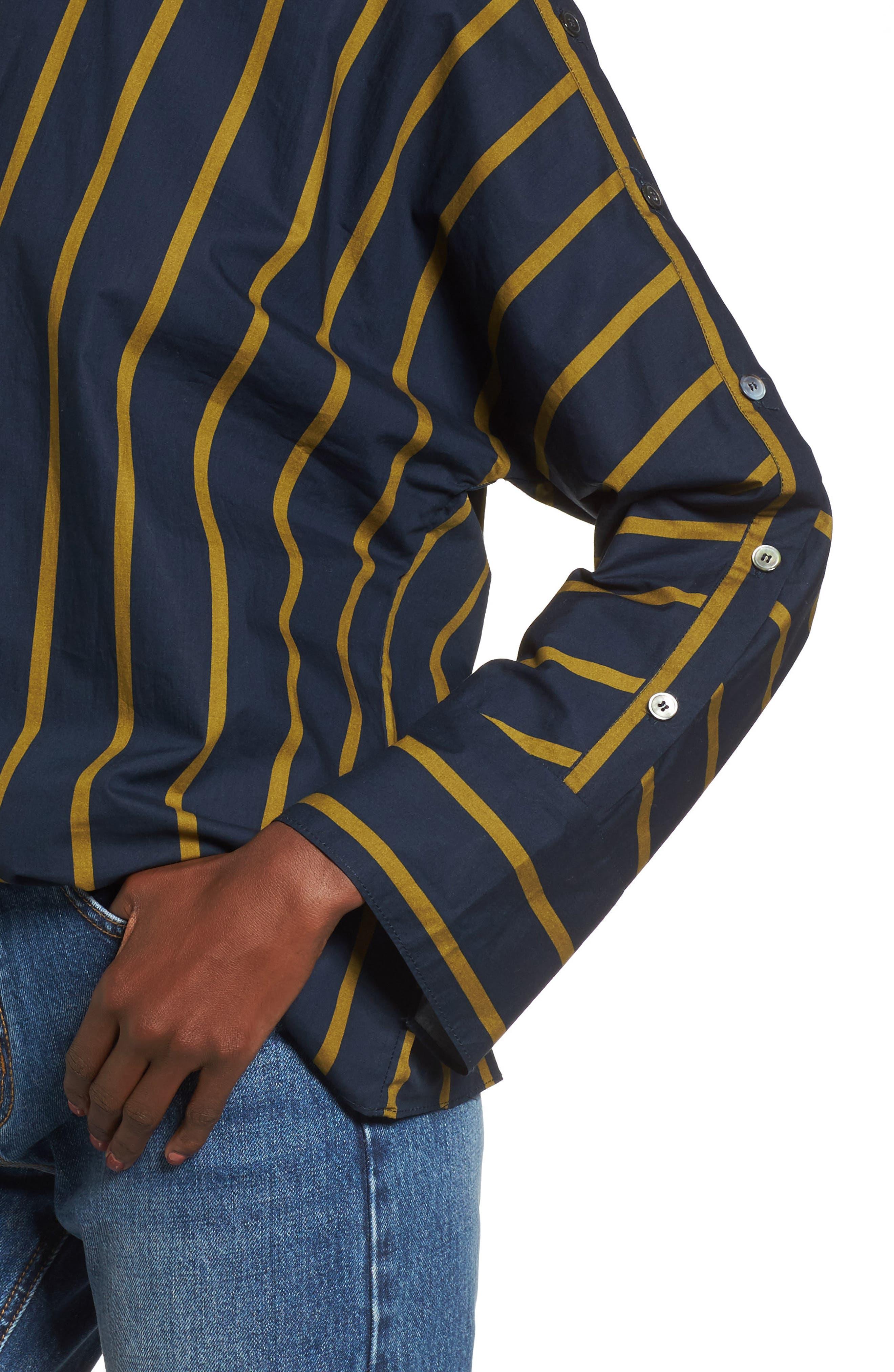 Stripe Button Sleeve Shirt,                             Alternate thumbnail 5, color,                             Navy