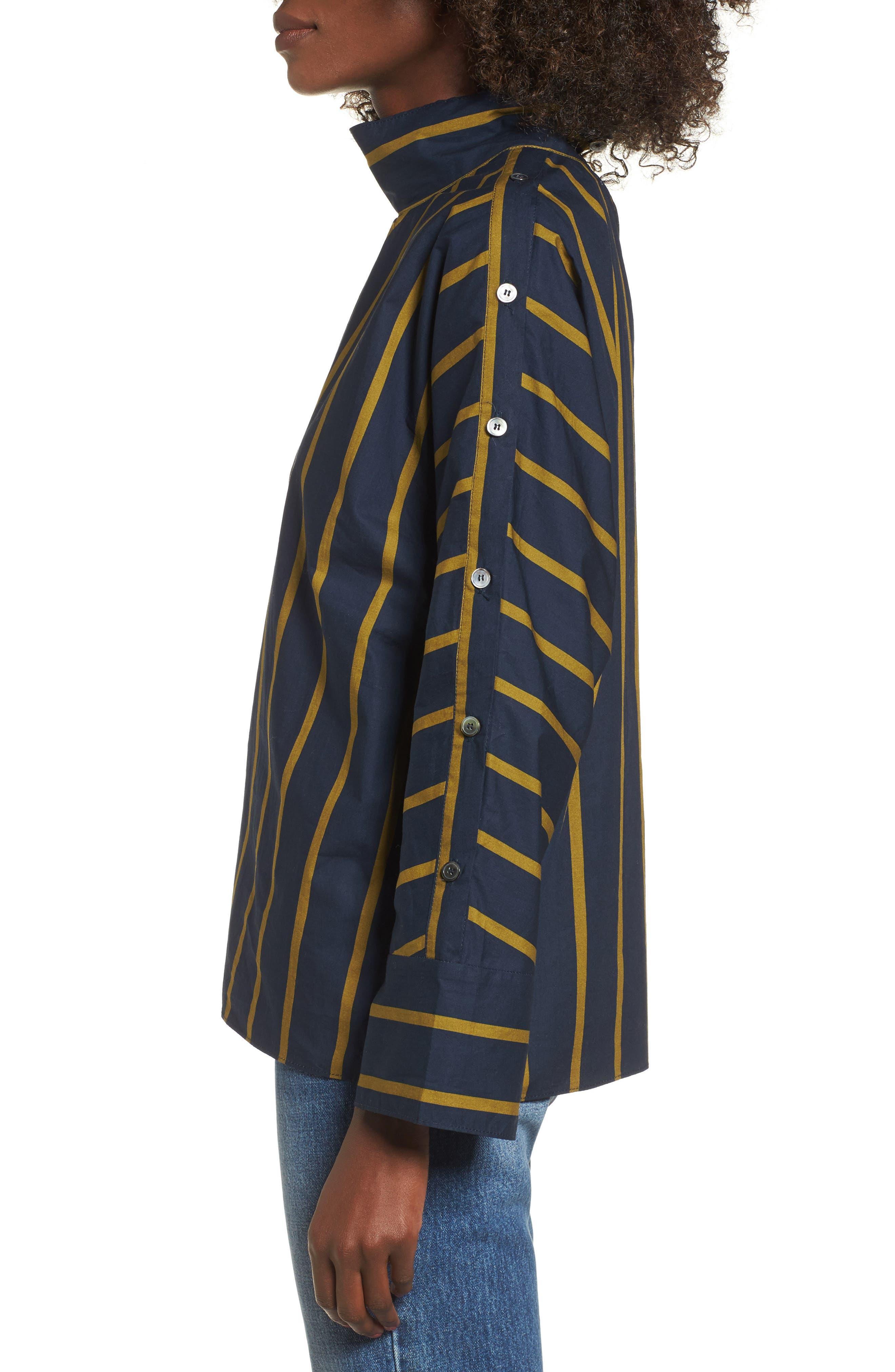 Stripe Button Sleeve Shirt,                             Alternate thumbnail 3, color,                             Navy