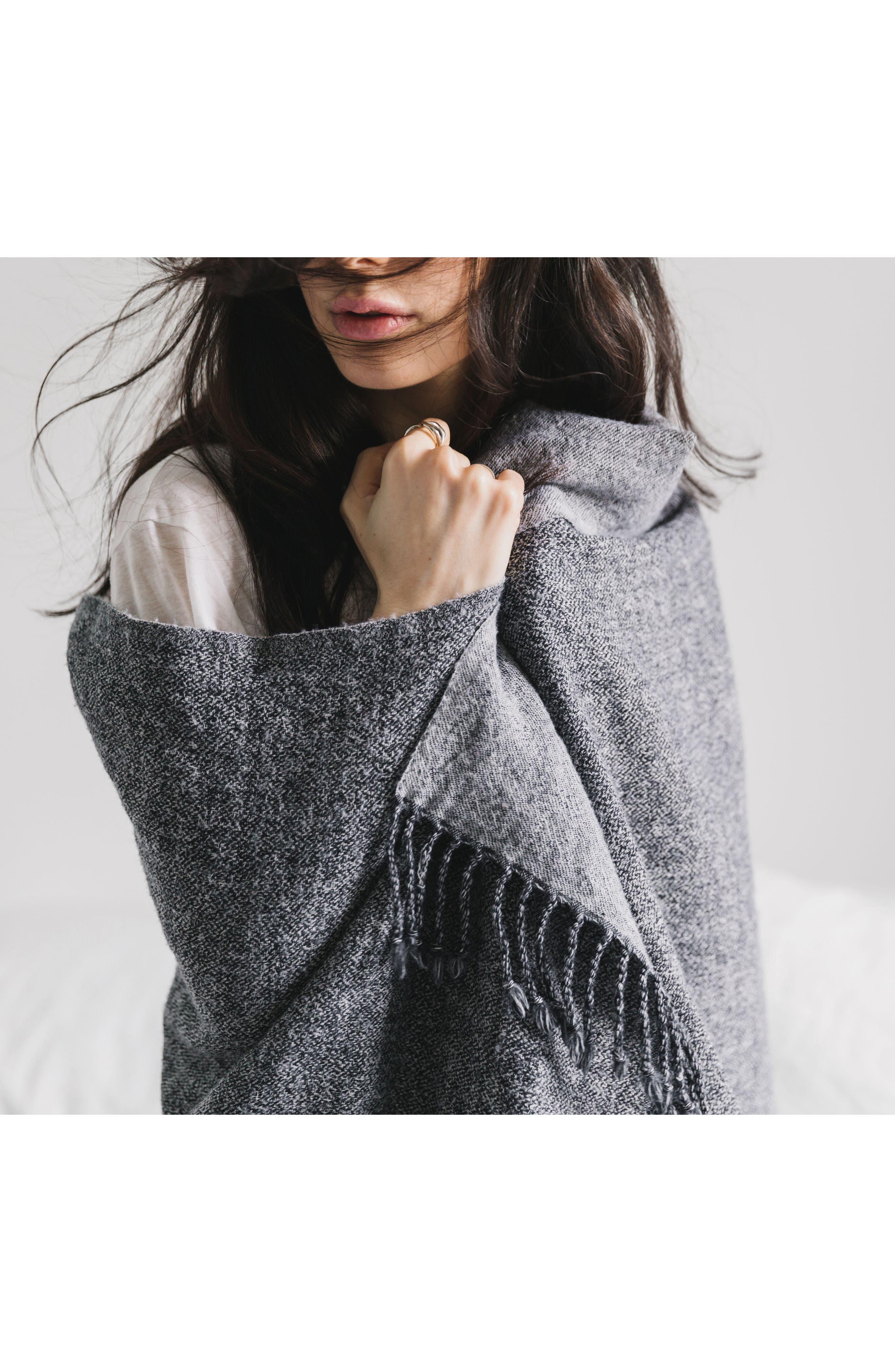 Blurred Herringbone Merino Wool Throw,                             Alternate thumbnail 2, color,                             Blurred Herringbone Grey