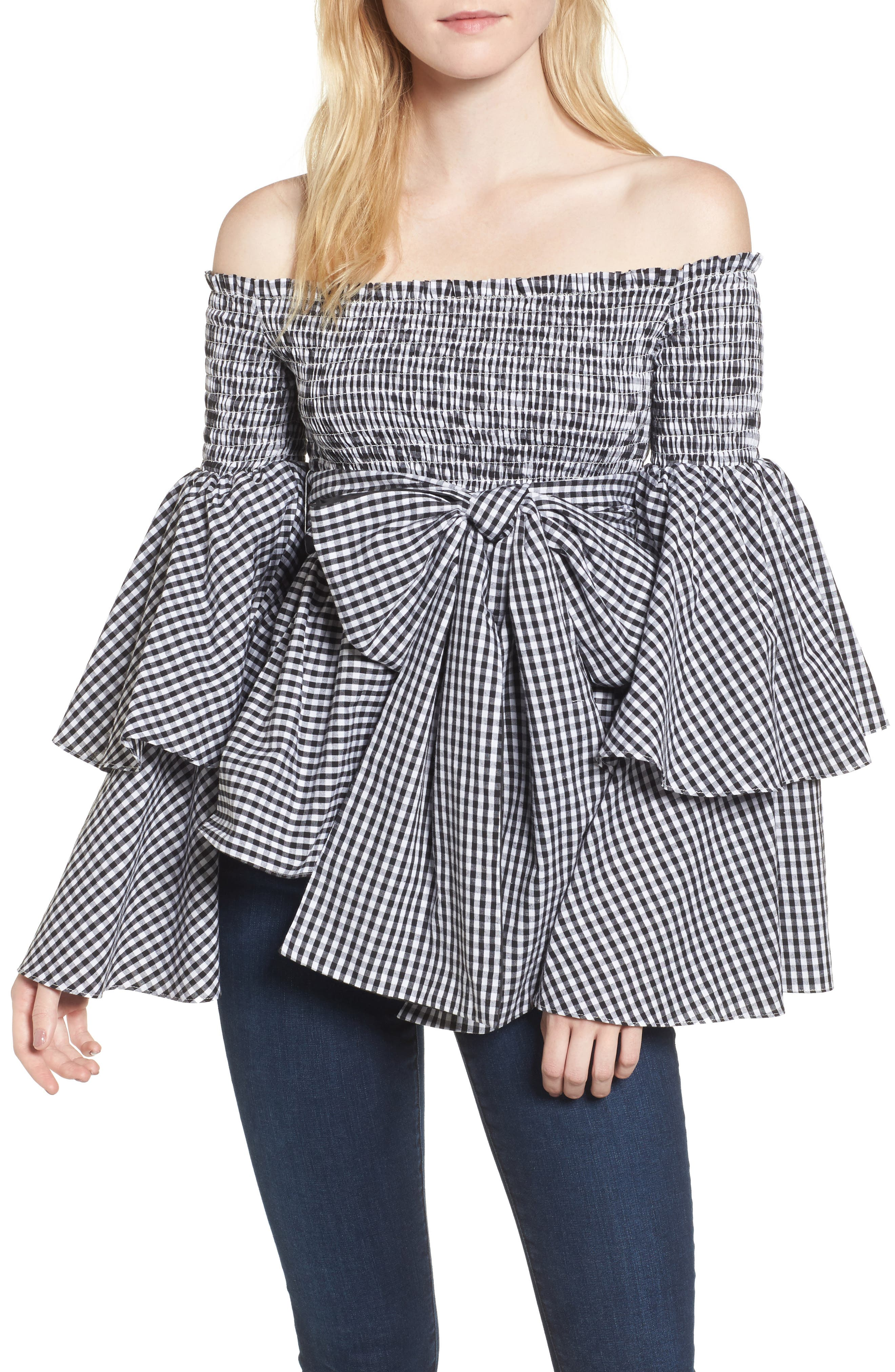 Disco Fever Off the Shoulder Top,                             Main thumbnail 1, color,                             Checkered Black