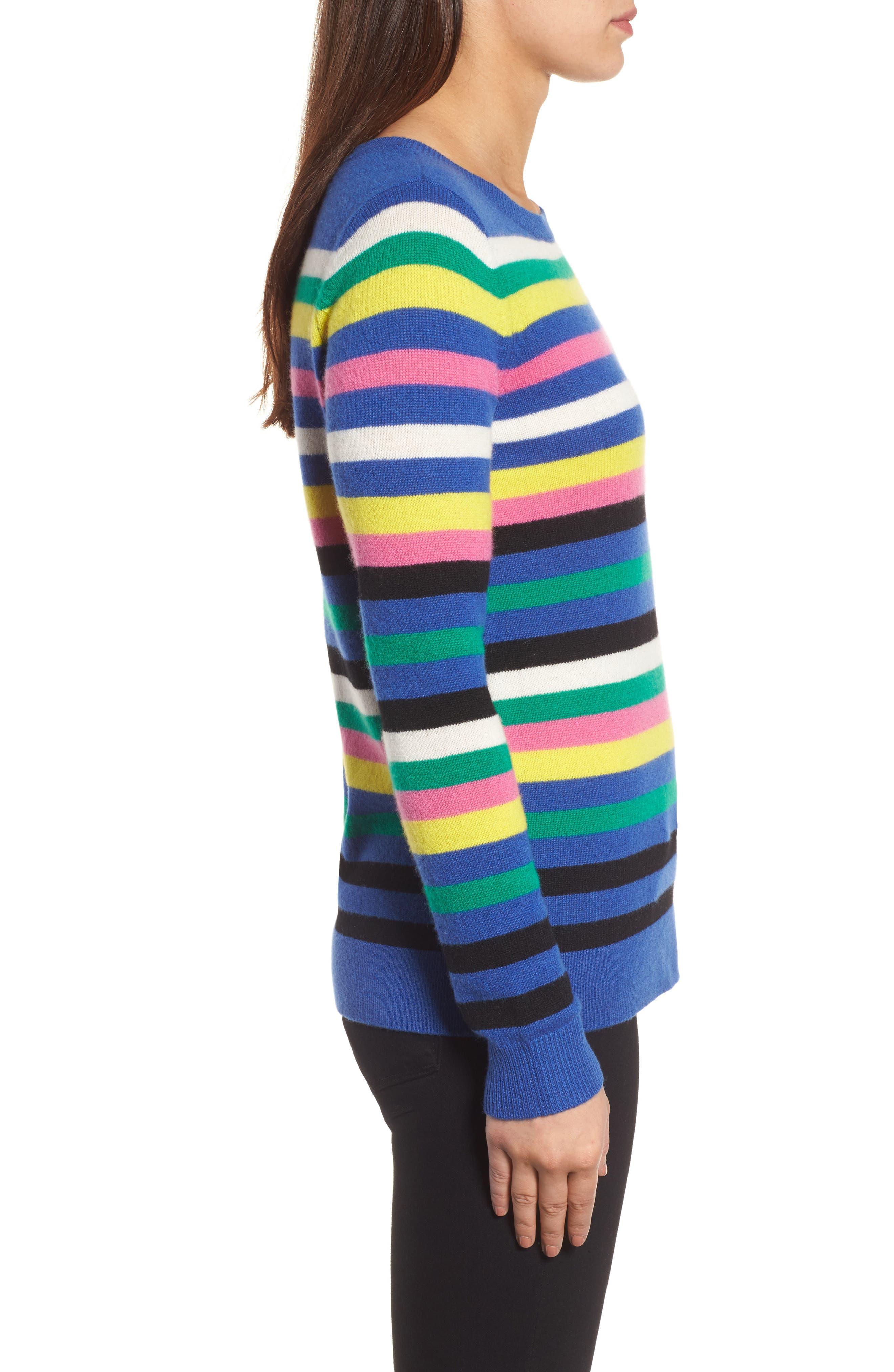 Alternate Image 3  - Halogen® Stripe Cashmere Sweater (Regular & Petite)