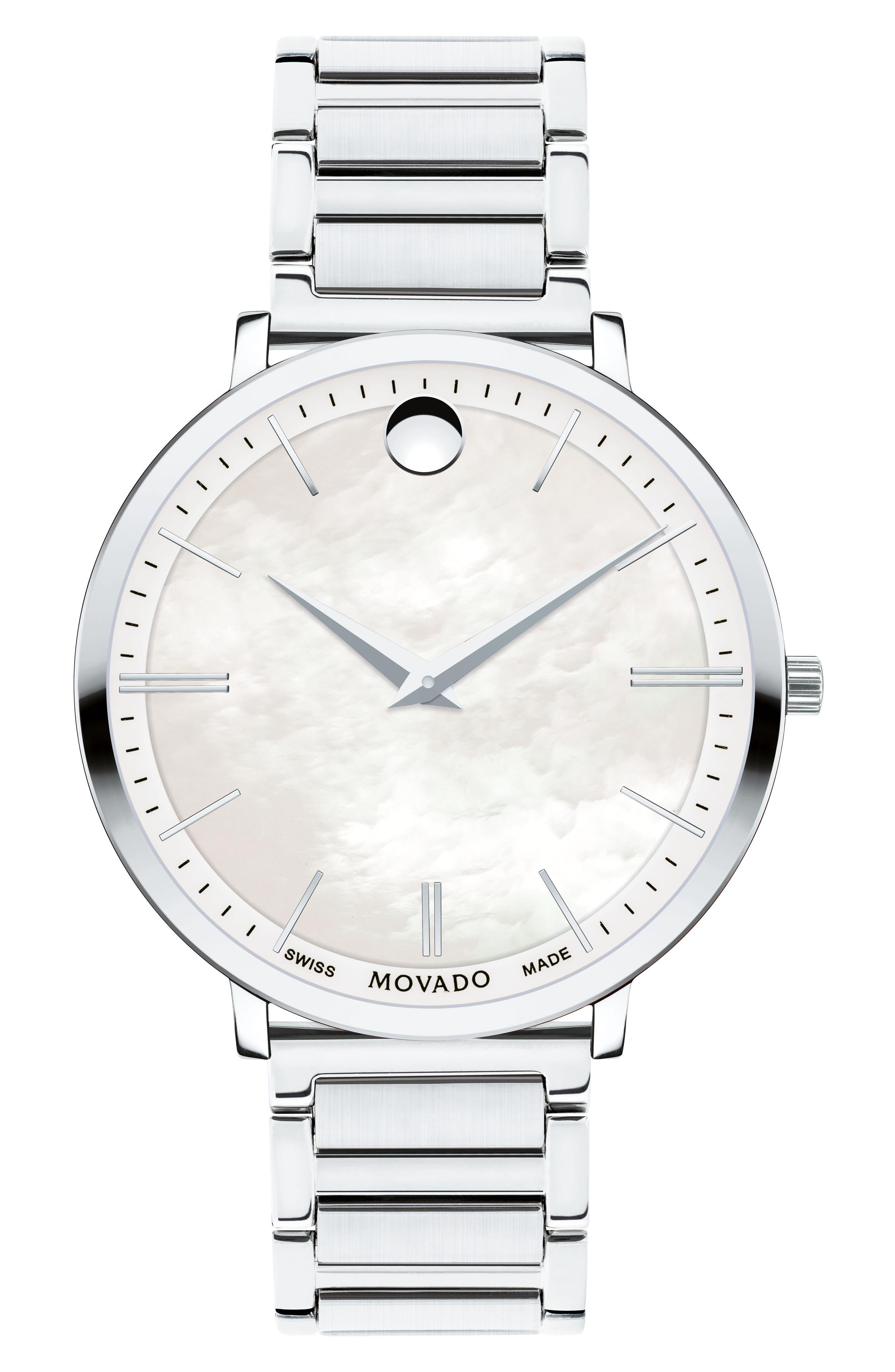 Ultra Slim Bracelet Watch, 35mm,                         Main,                         color, Silver/ Mop/ Silver
