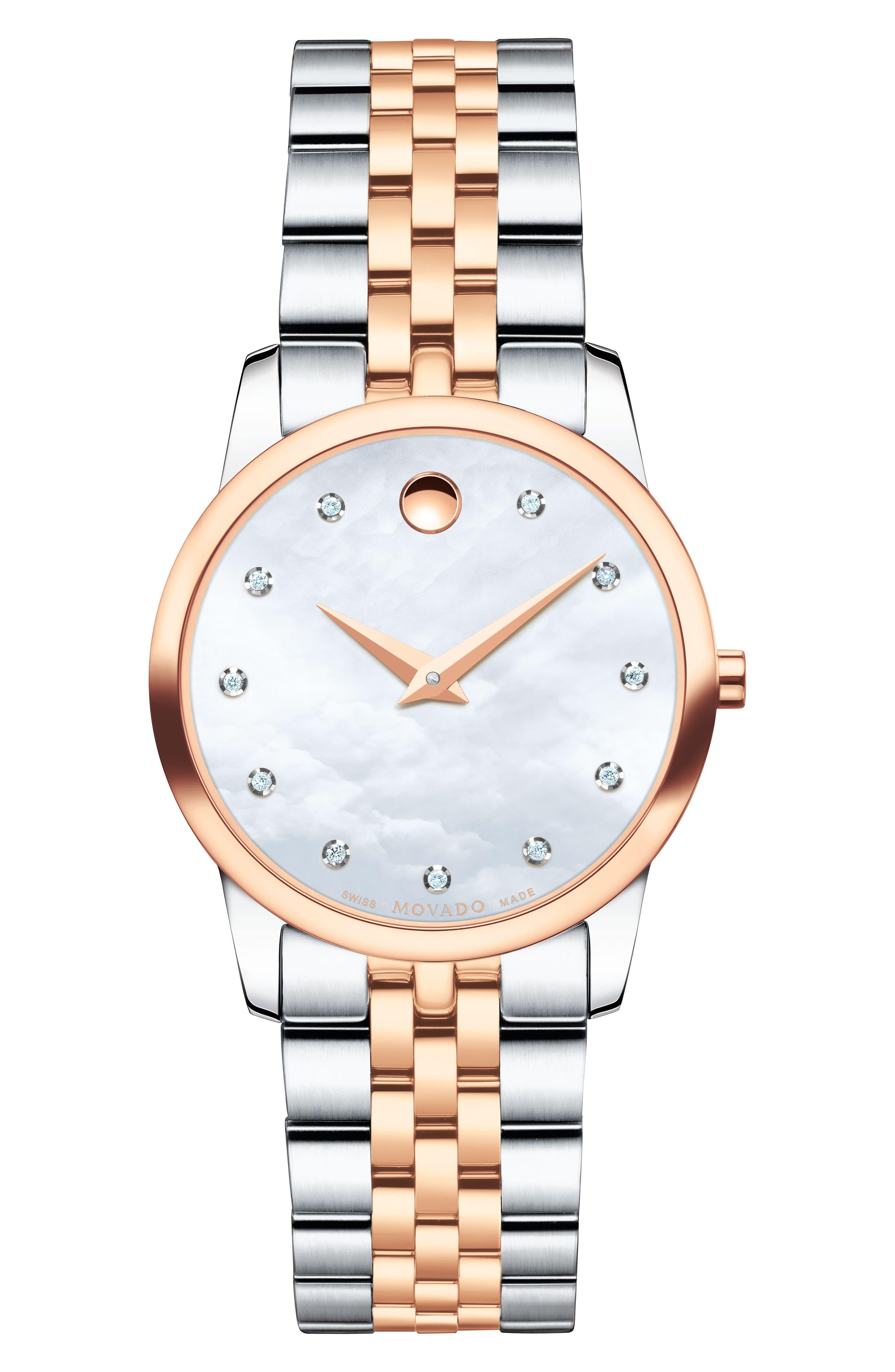 Classic Museum Diamond Bracelet Watch, 28mm,                             Main thumbnail 1, color,                             Silver/ Mop/ Rose Gold