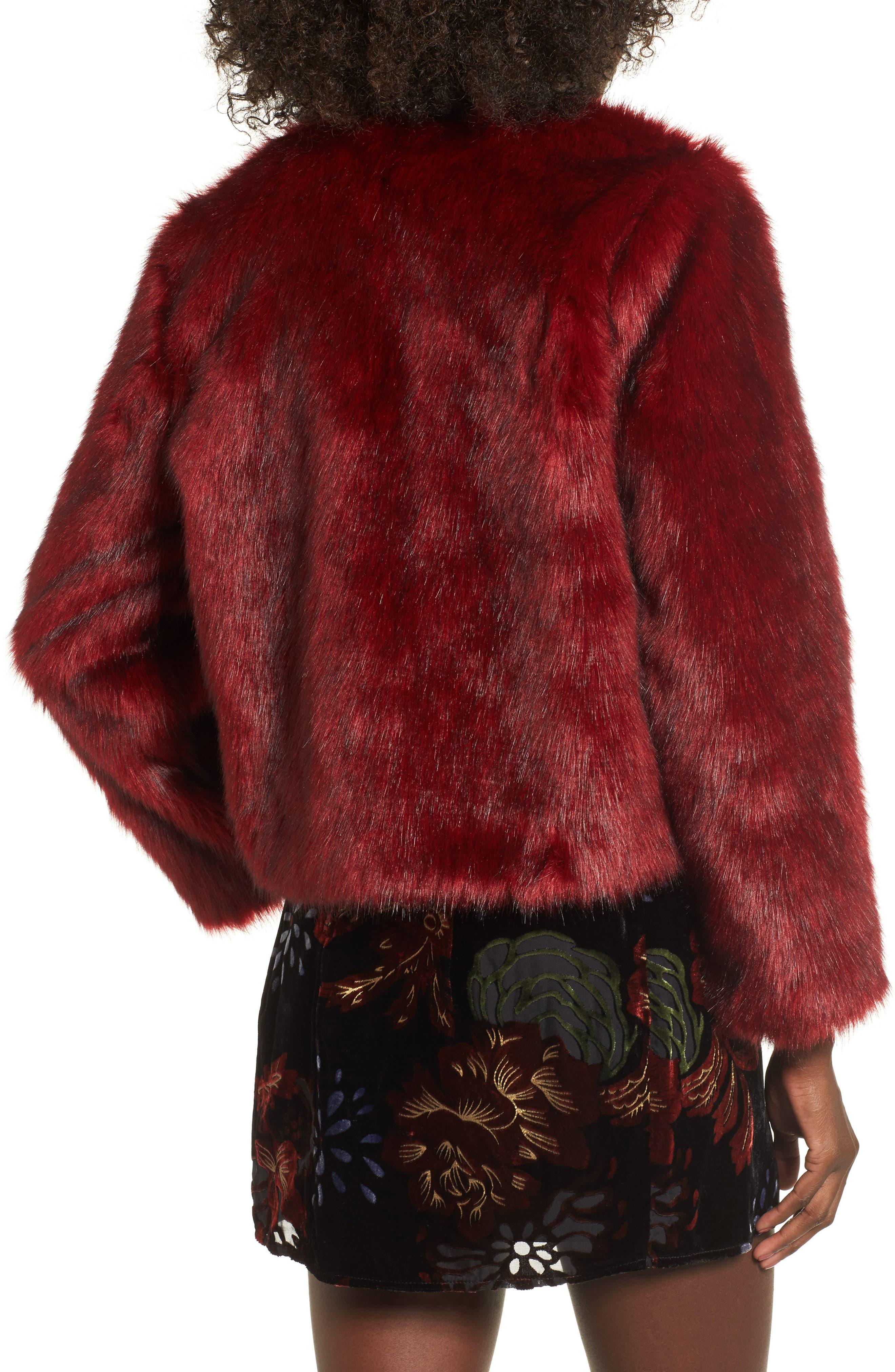 Faux Fur Jacket,                             Alternate thumbnail 2, color,                             Rouge Mink