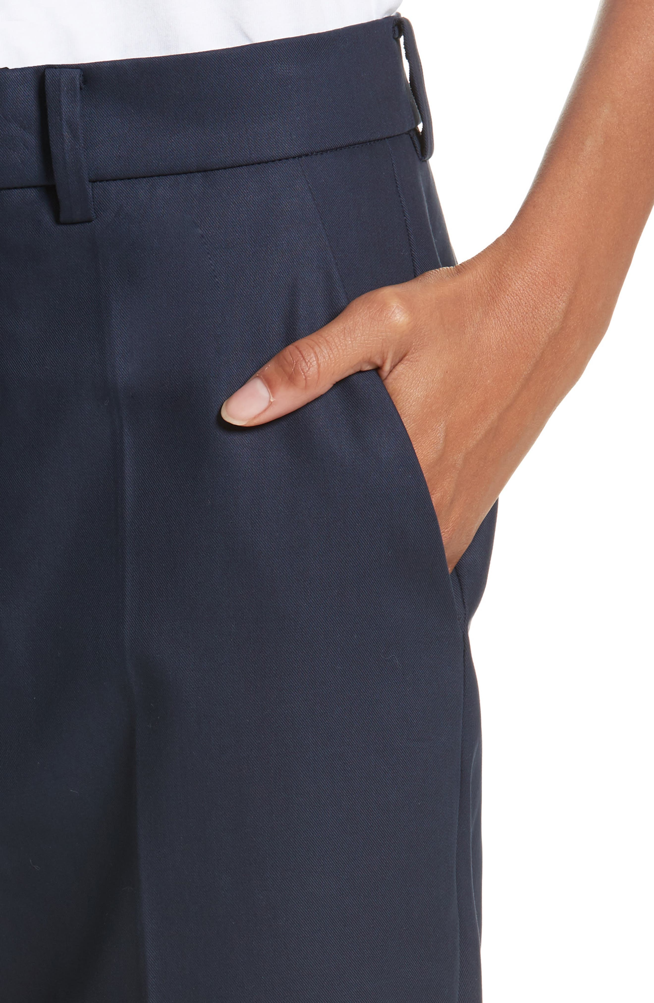 Cuffed Crop Pants,                             Alternate thumbnail 4, color,                             Navy Blue