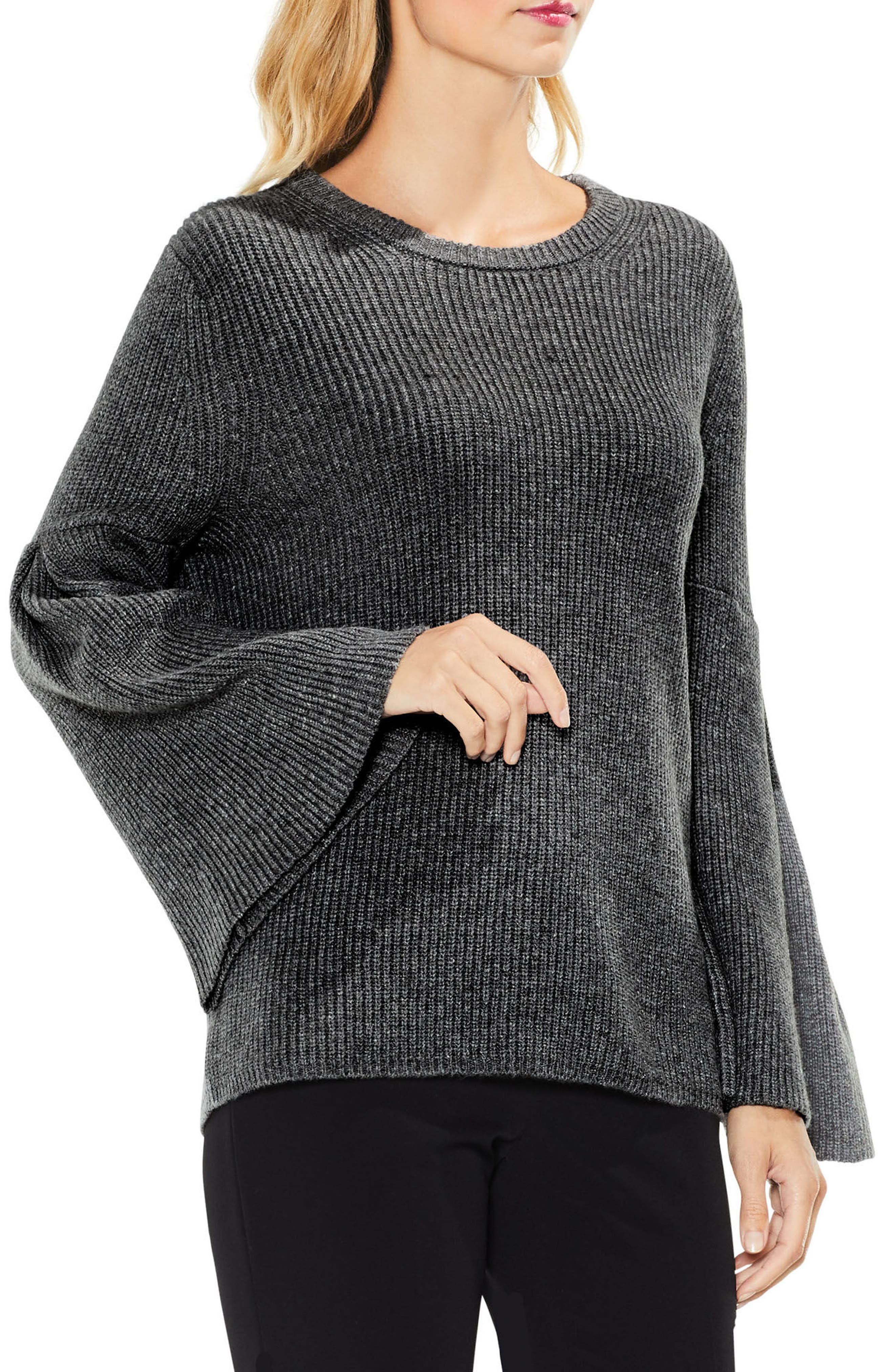 Alternate Image 1 Selected - Vince Camuto All Over Rib Bell Sleeve Sweater (Regular & Petite)