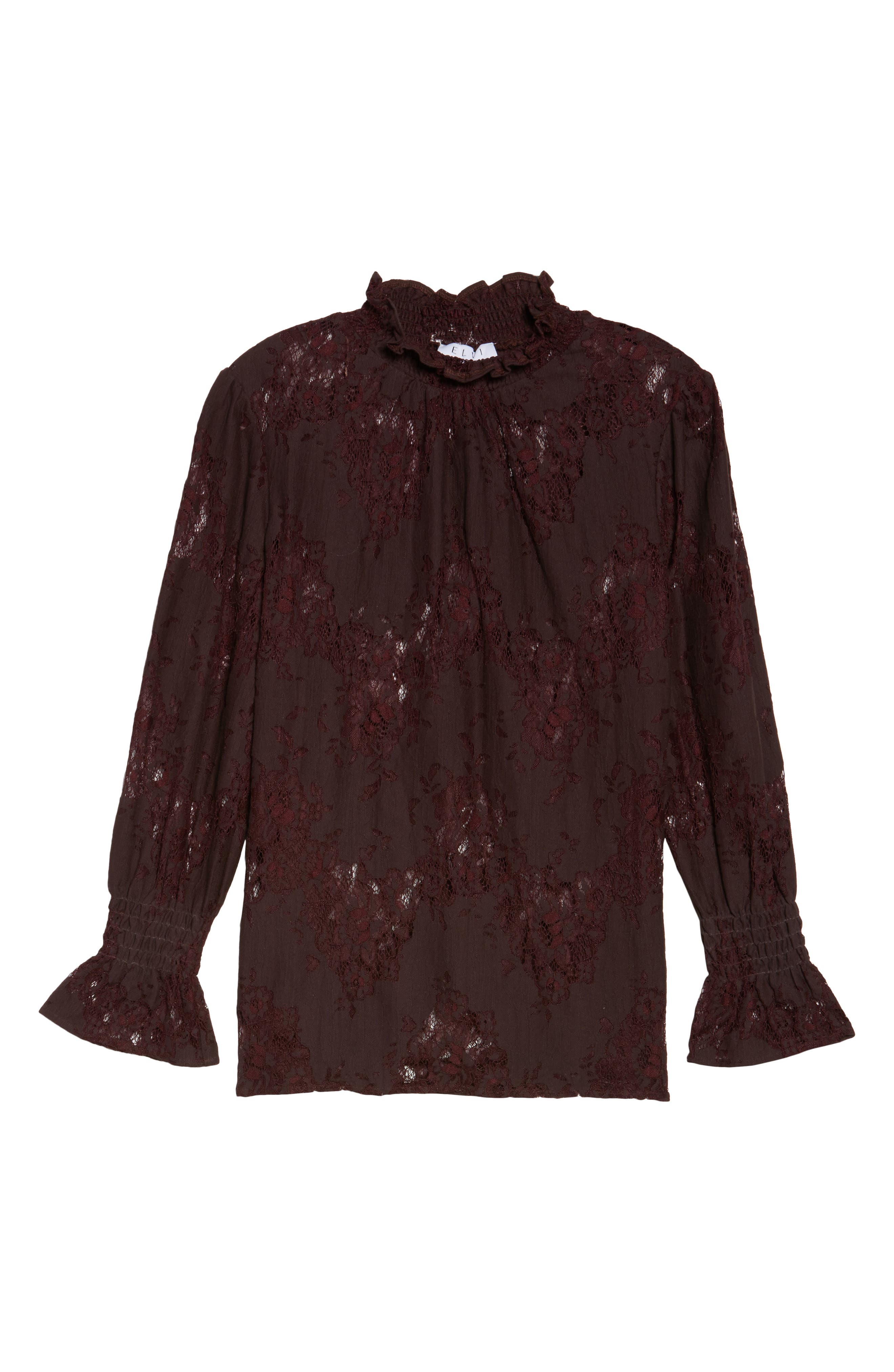 High Neck Ruffle & Lace Blouse,                             Alternate thumbnail 6, color,                             Burgundy