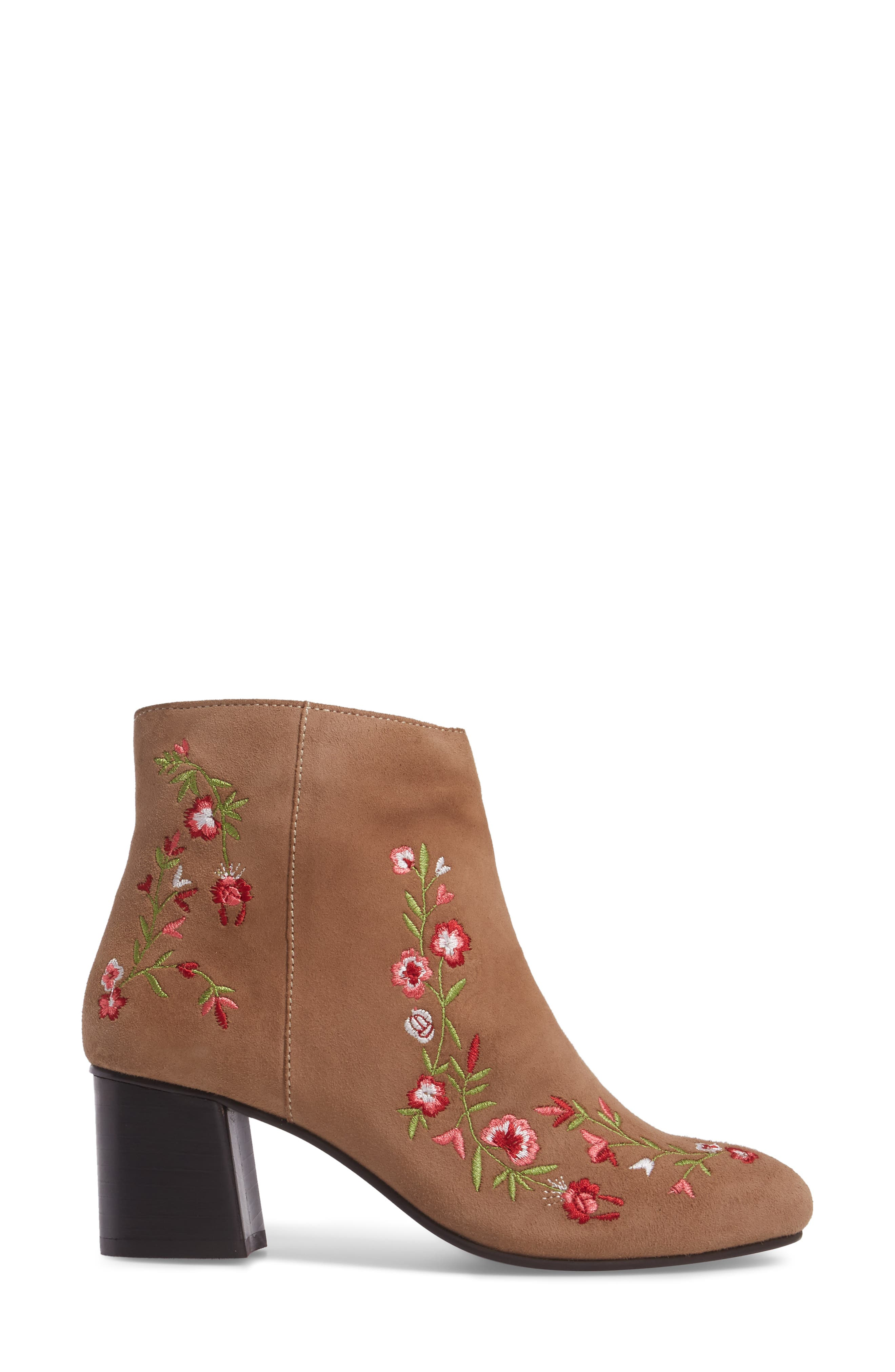 Veronaa Embroidered Bootie,                             Alternate thumbnail 3, color,                             Tan Suede