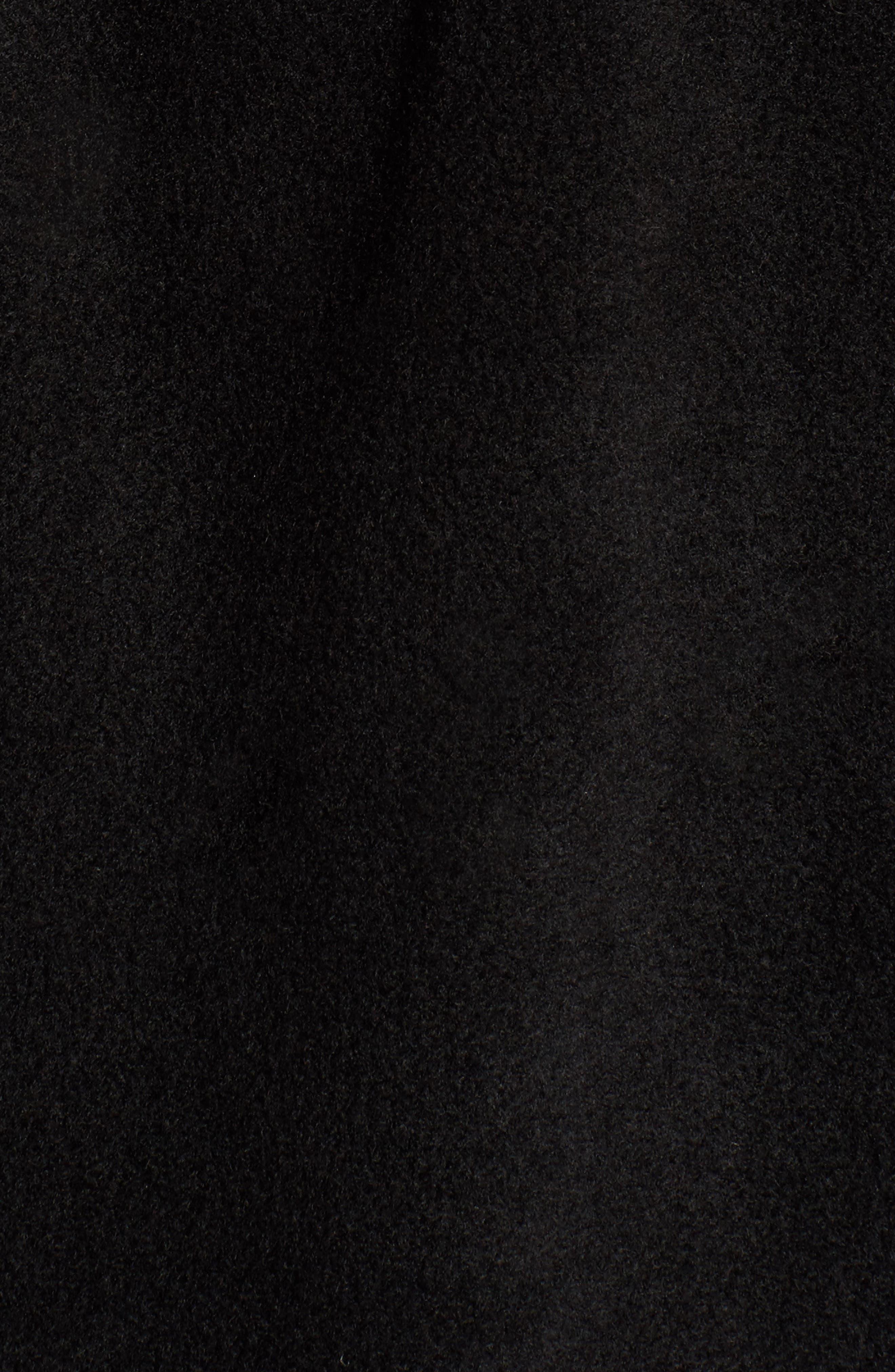 Chelsea Cape with Faux Fur Trim,                             Alternate thumbnail 5, color,                             Black/ Black Mink