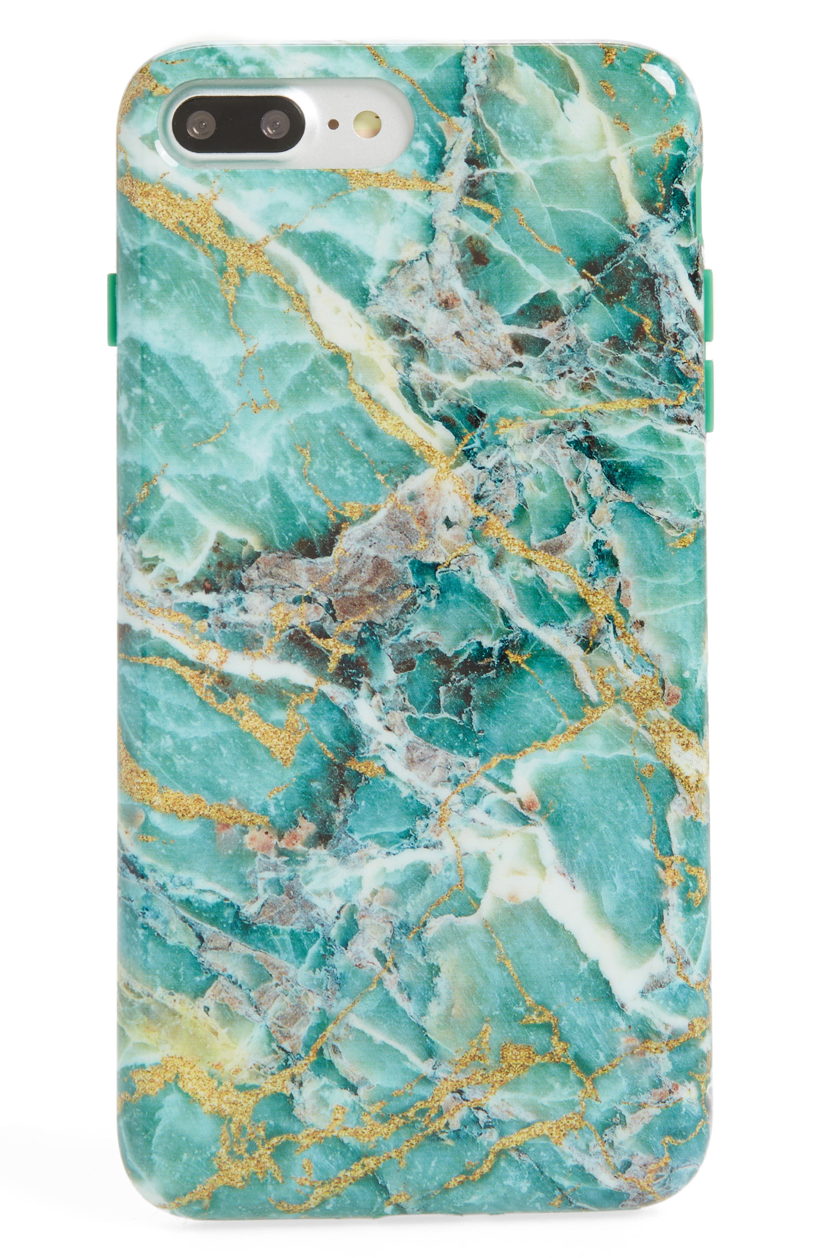 Blue Lily Floral Marble iPhone 7/8 Plus Case,                             Main thumbnail 1, color,                             Green