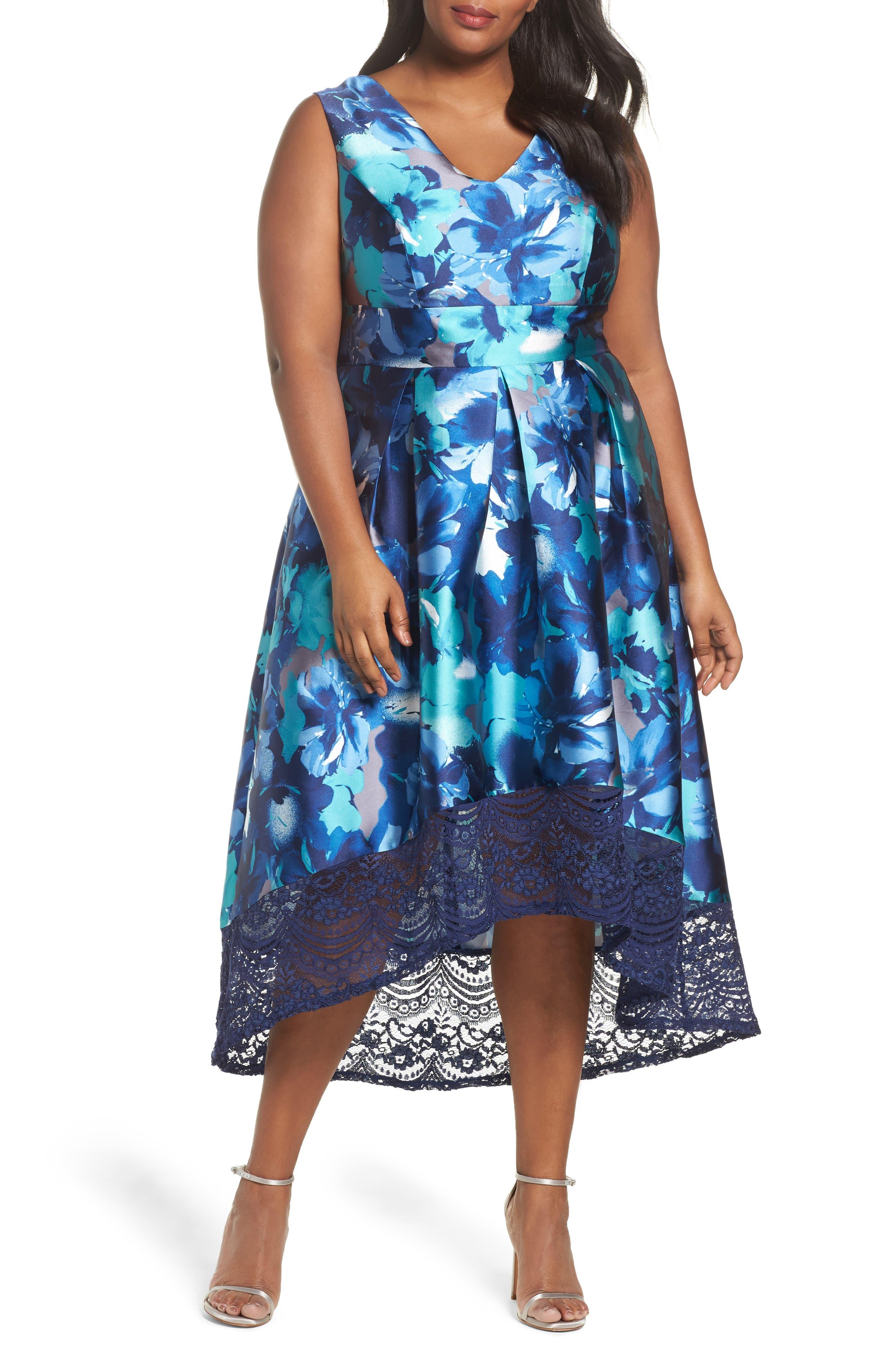 Sangria Watercolor Floral High/Low Dress (Plus Size)