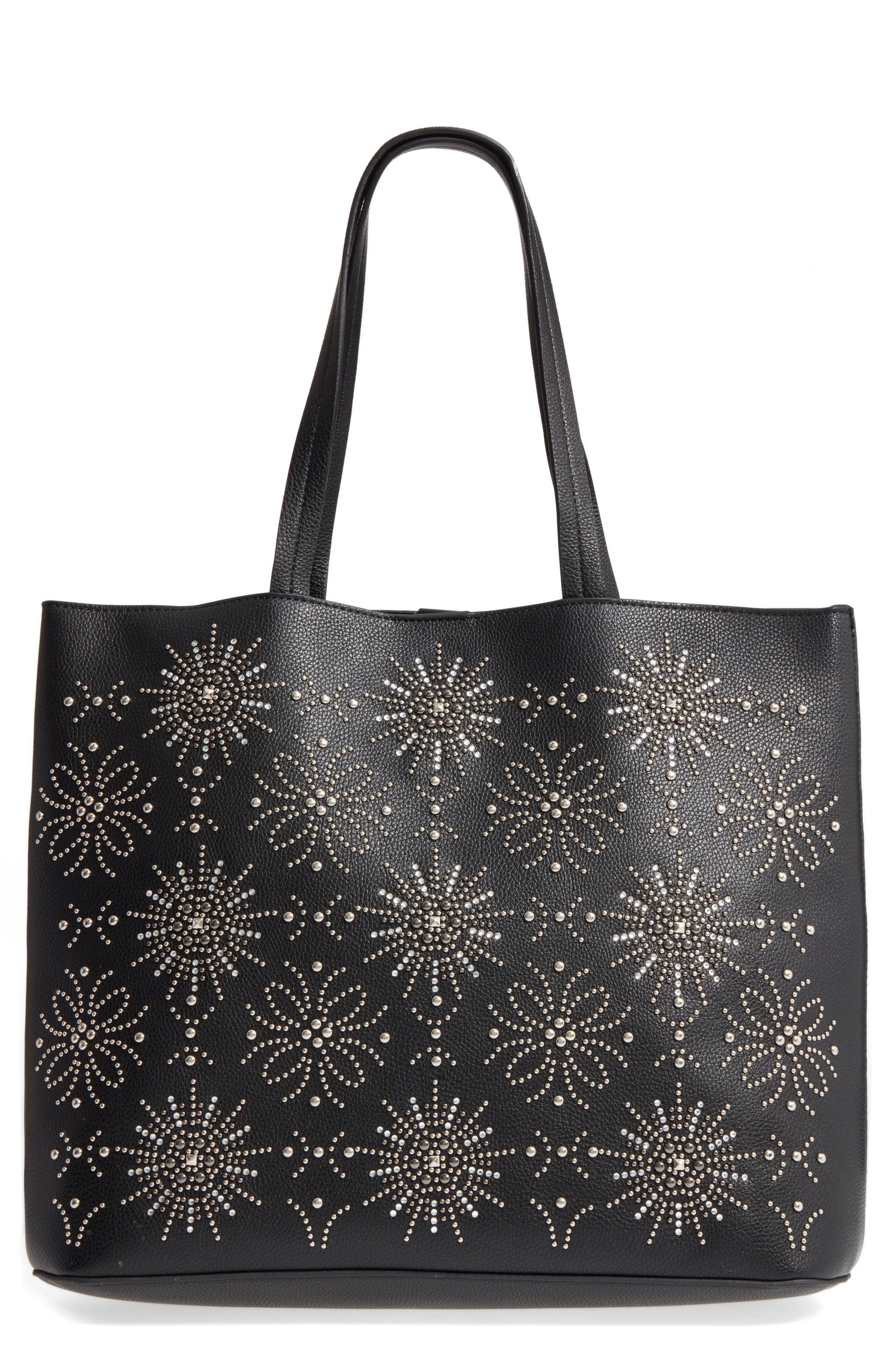 Starburst Faux Leather Tote & Zip Pouch,                         Main,                         color, Black