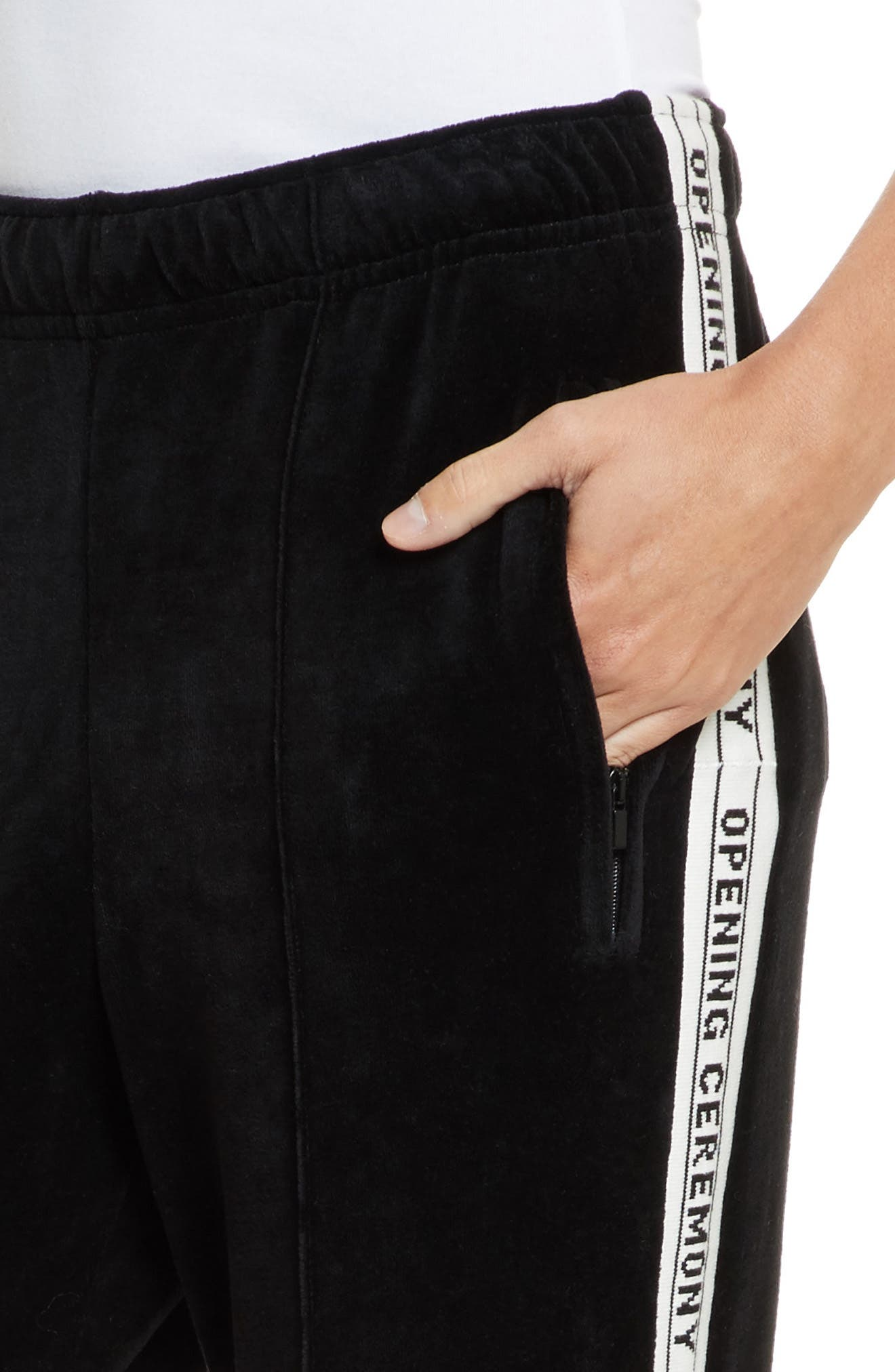 Logo Tape Velour Track Pants,                             Alternate thumbnail 4, color,                             Black
