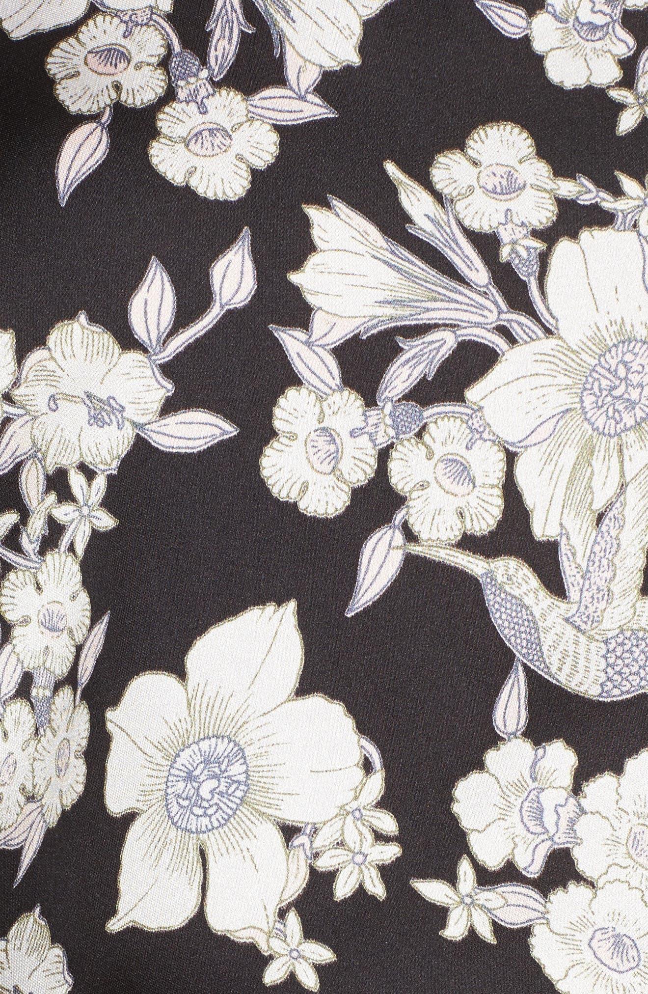 Birdee One Shoulder Crop Top,                             Alternate thumbnail 5, color,                             Black Floral