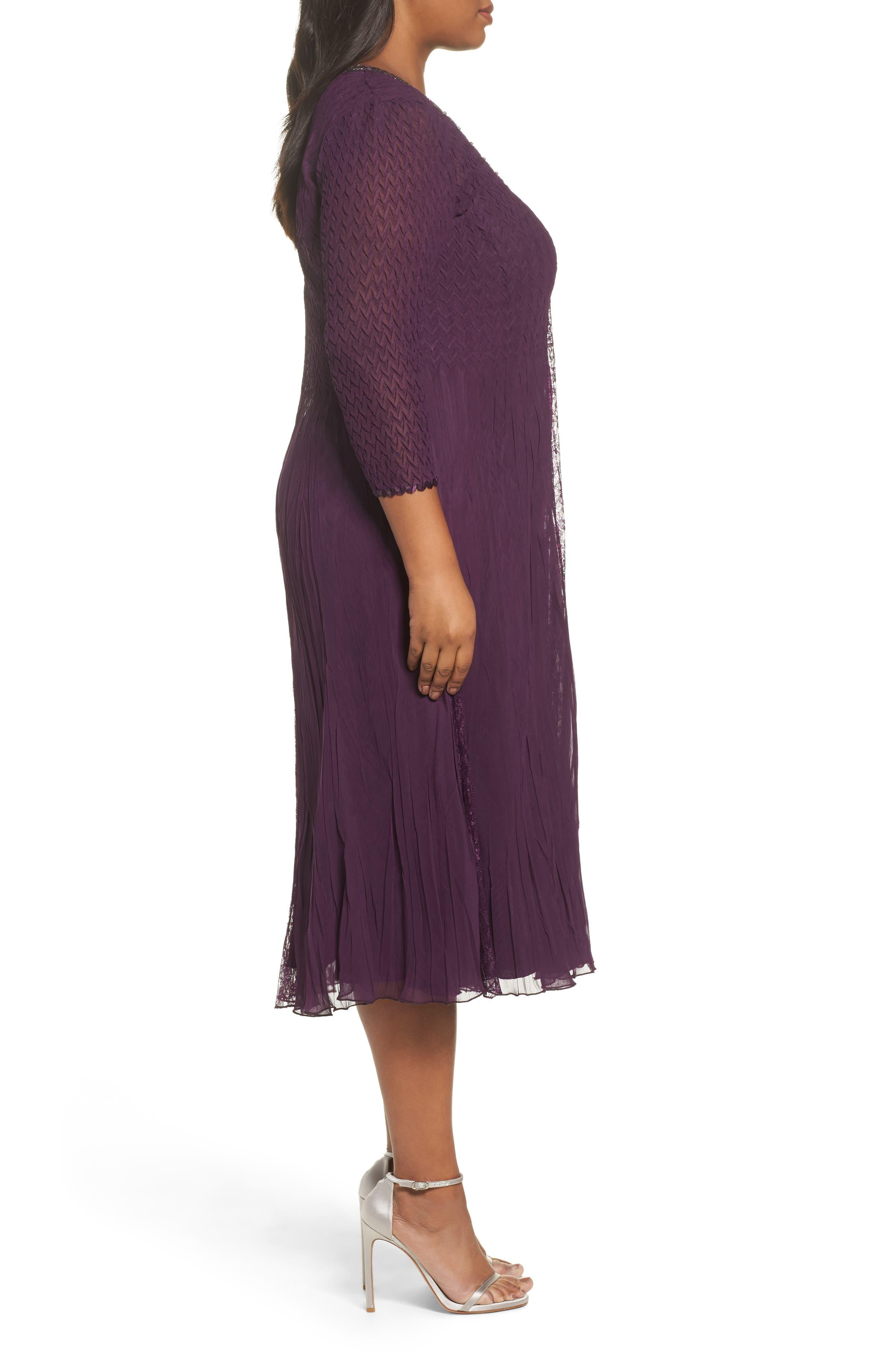 Center Front Lace Dress,                             Alternate thumbnail 3, color,                             Aubergine