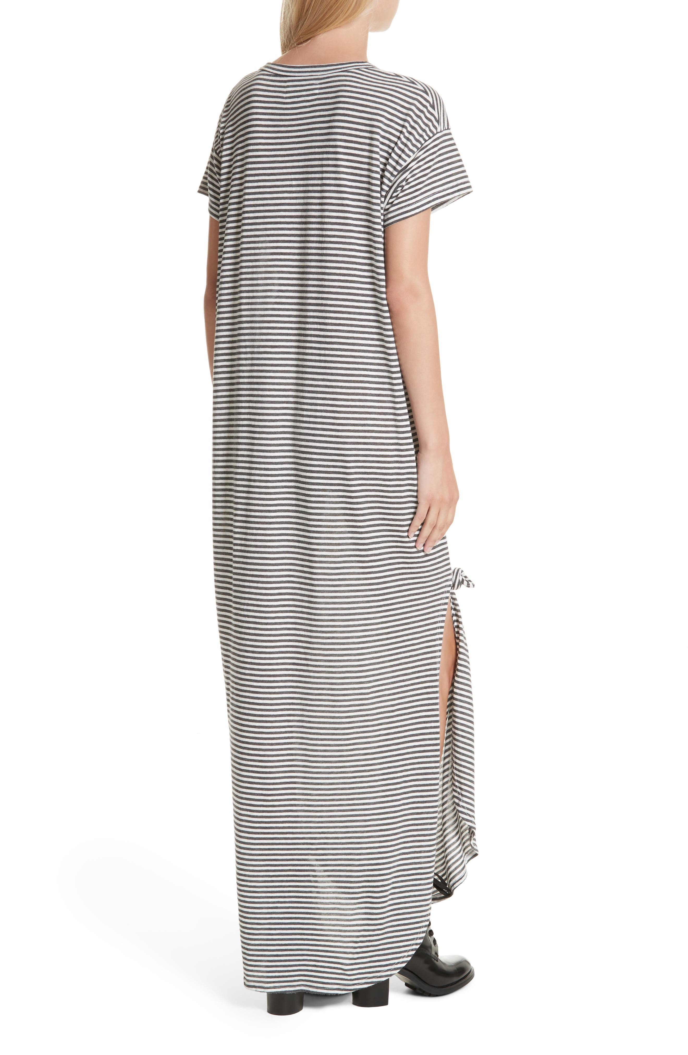 The Knotted Tee Dress,                             Alternate thumbnail 3, color,                             Smoke Stripe