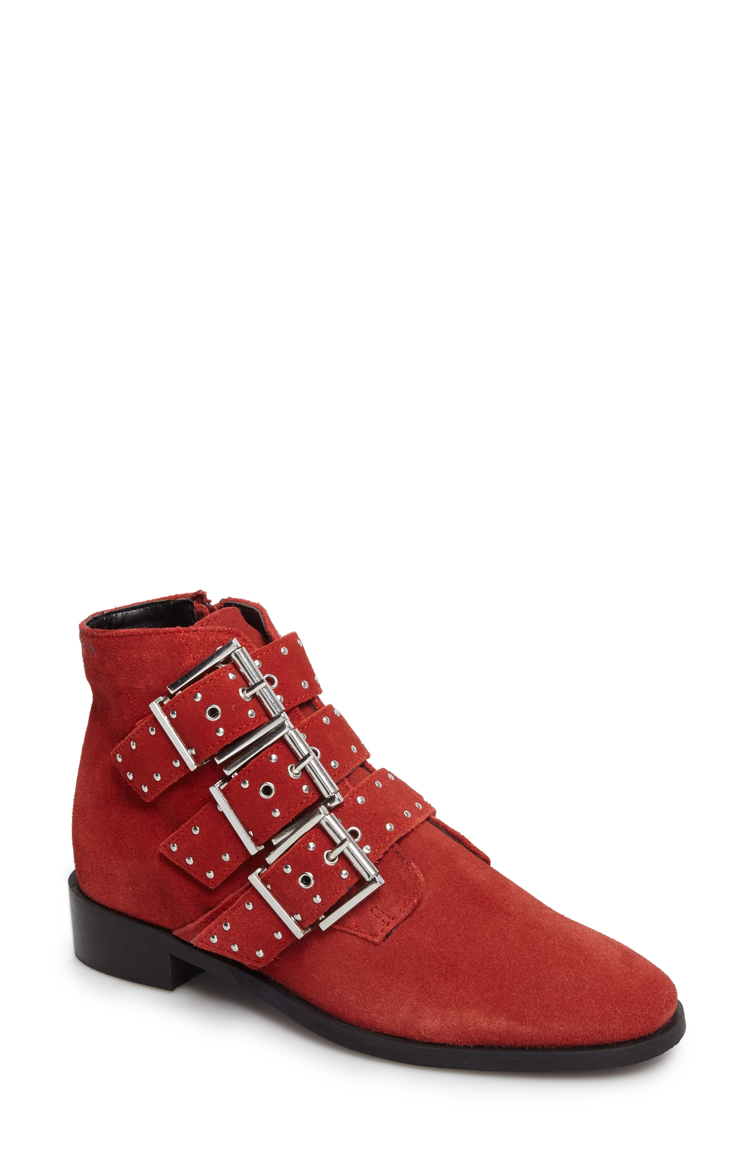 Krown Studded Bootie,                             Main thumbnail 1, color,                             Red