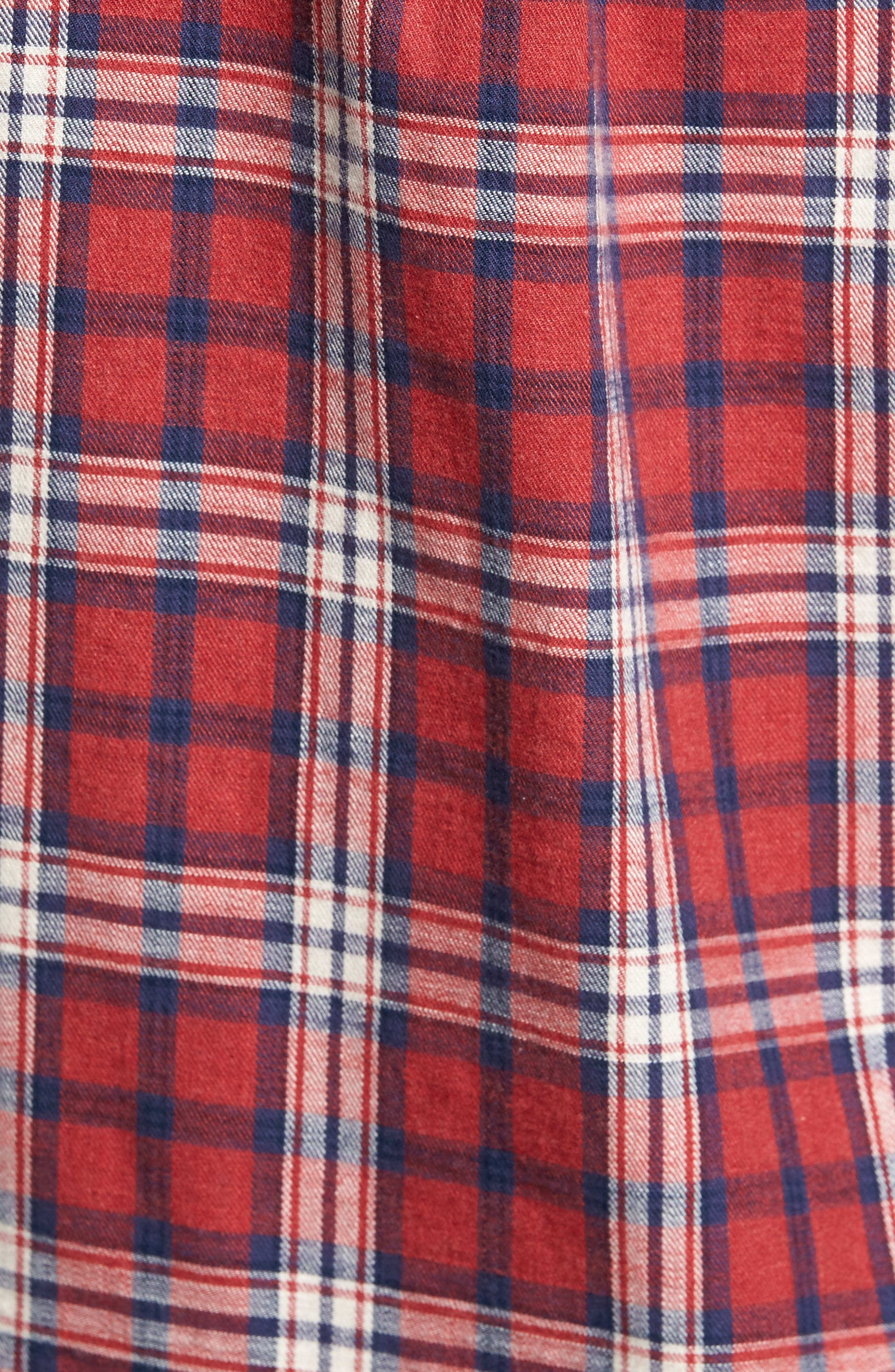 Winslow Slub Plaid Twill Sport Shirt,                             Alternate thumbnail 5, color,                             Red