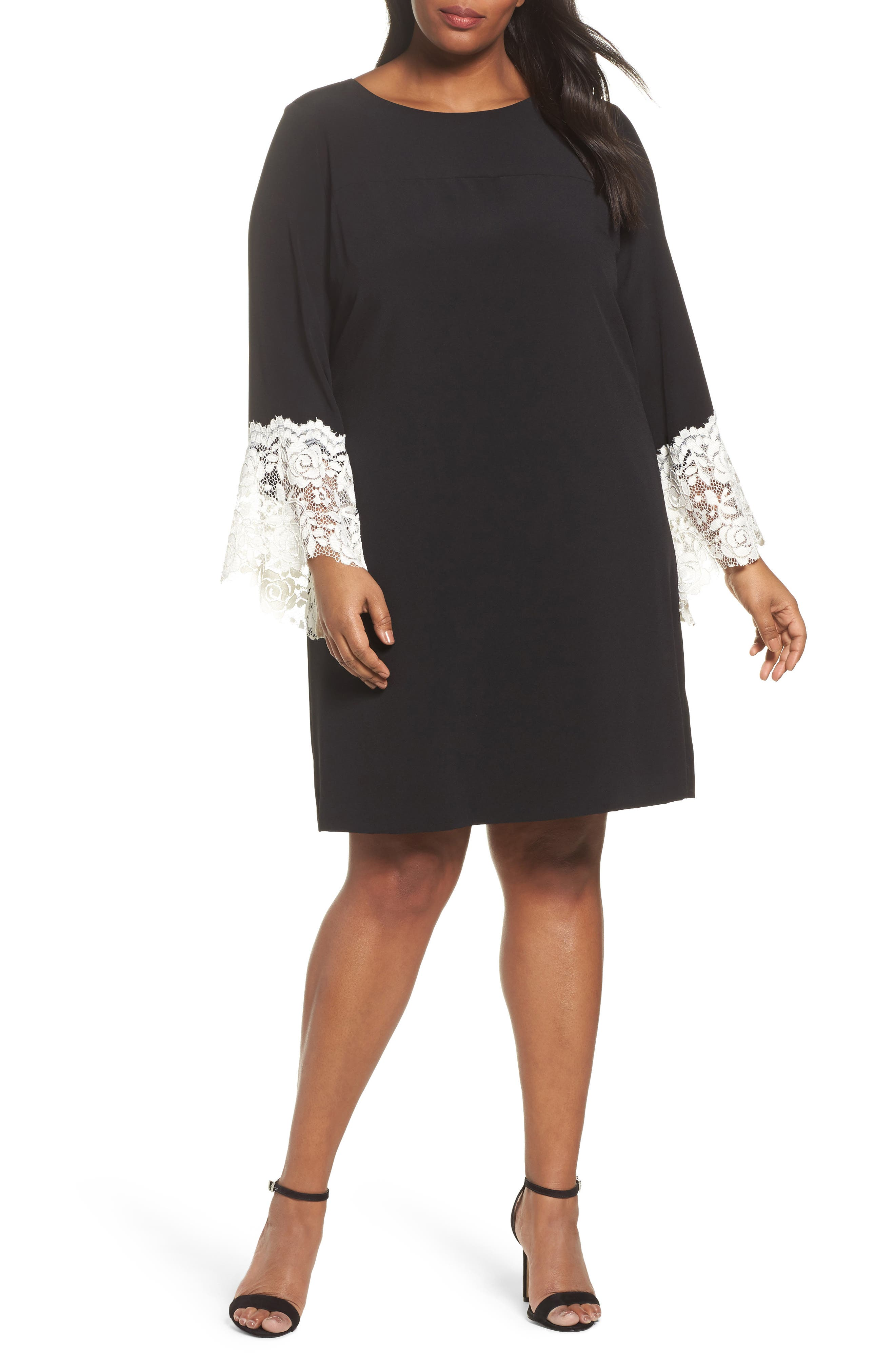 Lace Cuff Shift Dress,                             Main thumbnail 1, color,                             Black/ Ivory