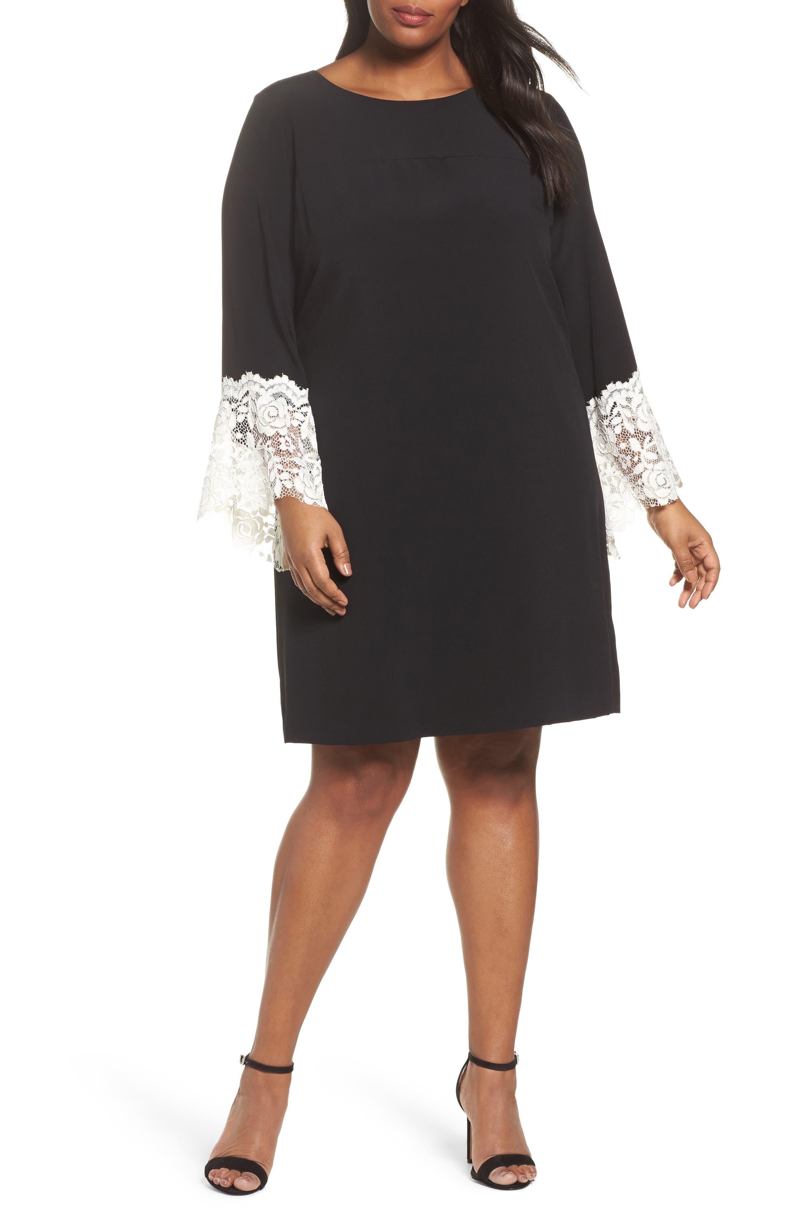 Tahari Lace Cuff Shift Dress (Plus Size)